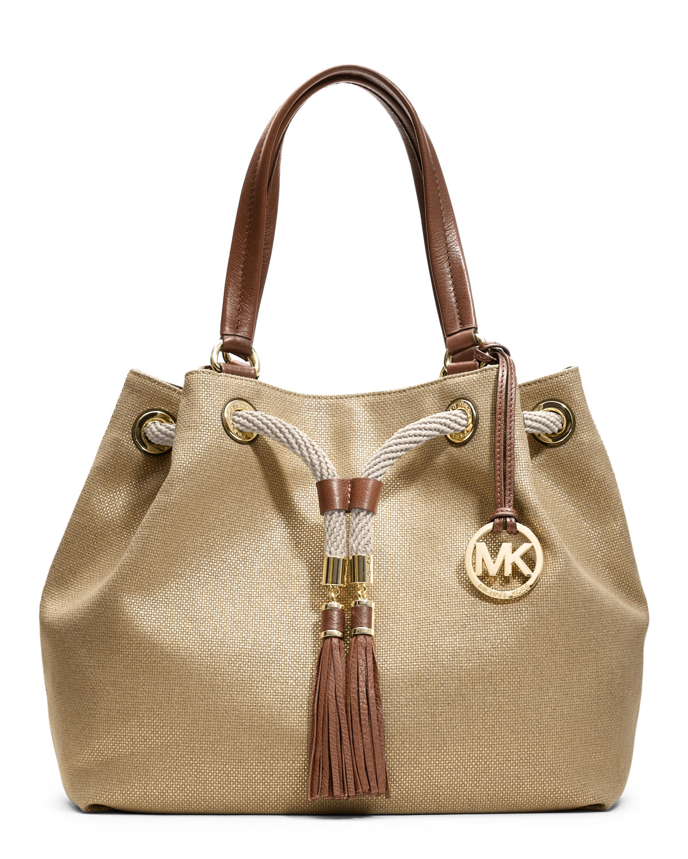 Michael Kors Marina East West Tote Gold Canvas Shoulder Bag 21