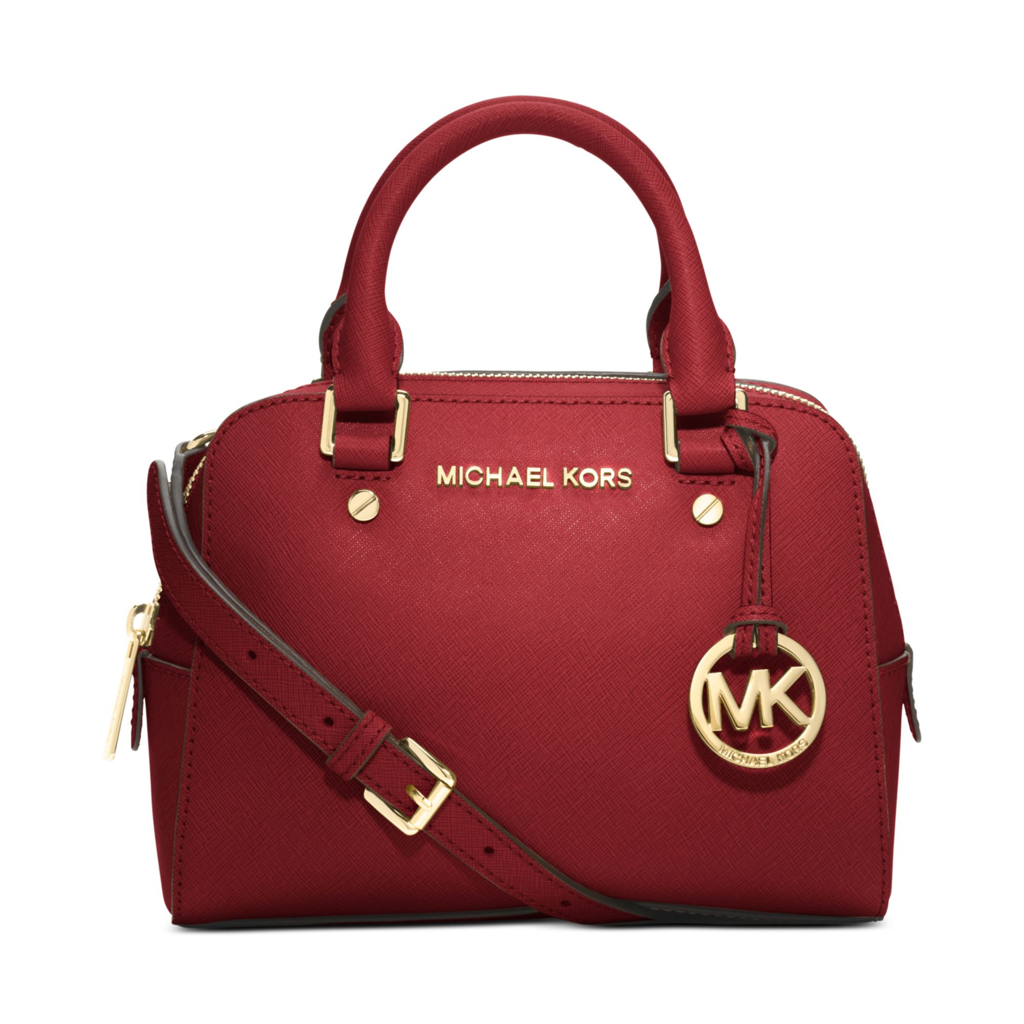 michael kors jet set small travel satchel in red lyst. Black Bedroom Furniture Sets. Home Design Ideas
