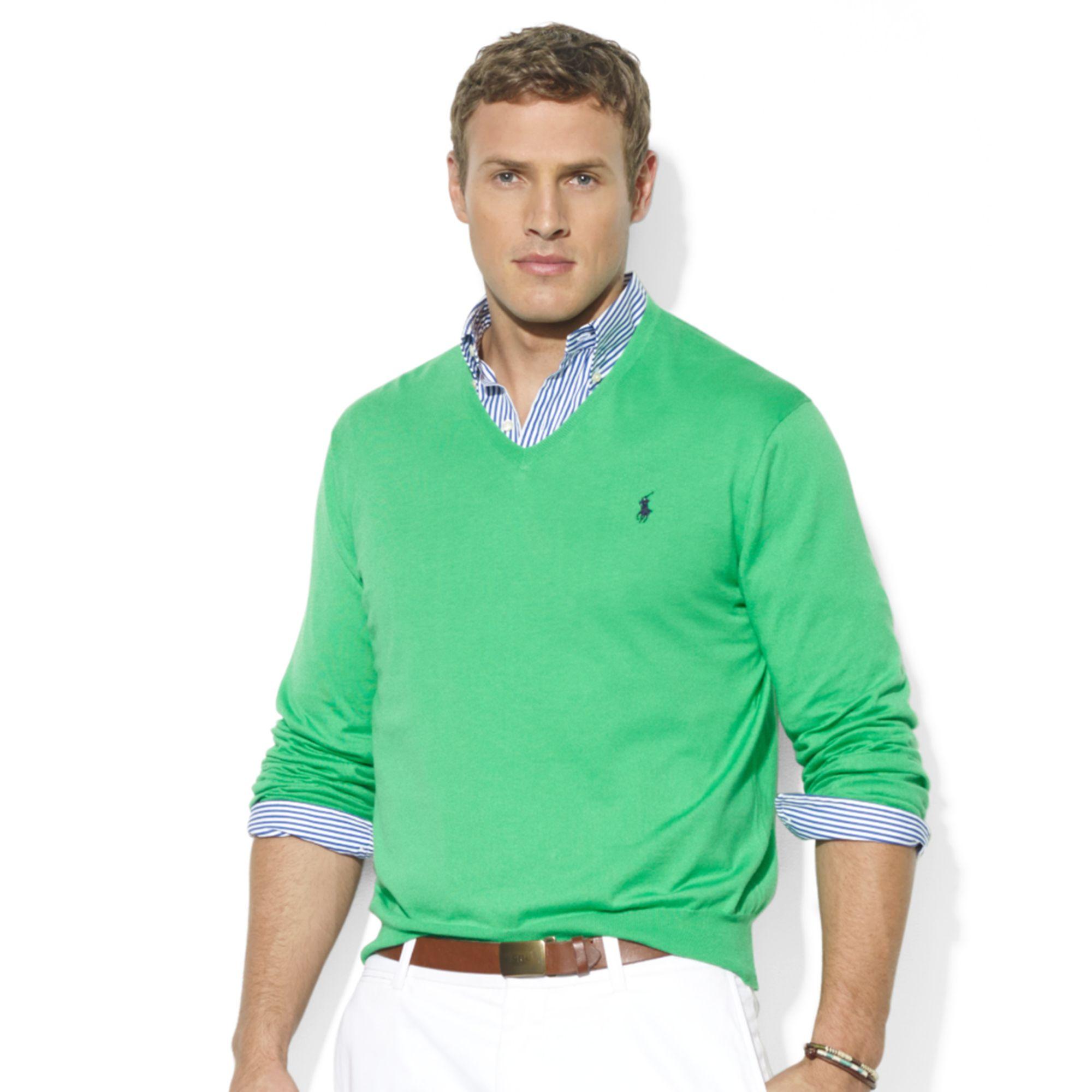 Ralph lauren Vneck Pima Cotton Sweater in Green for Men | Lyst