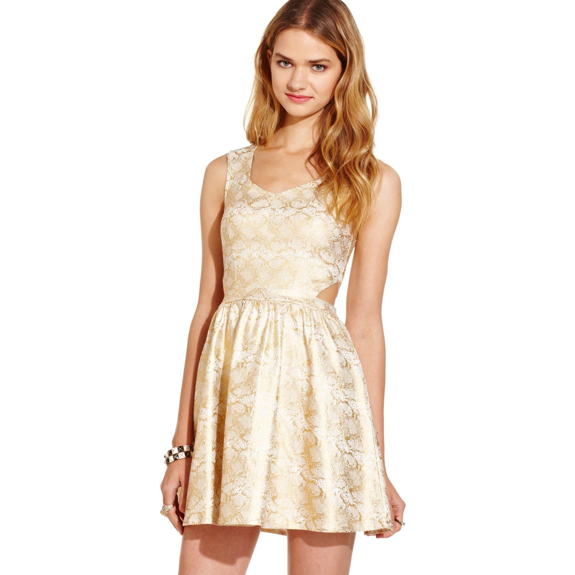 Teen Vogue Dress In Beige Gold Ivory Lyst