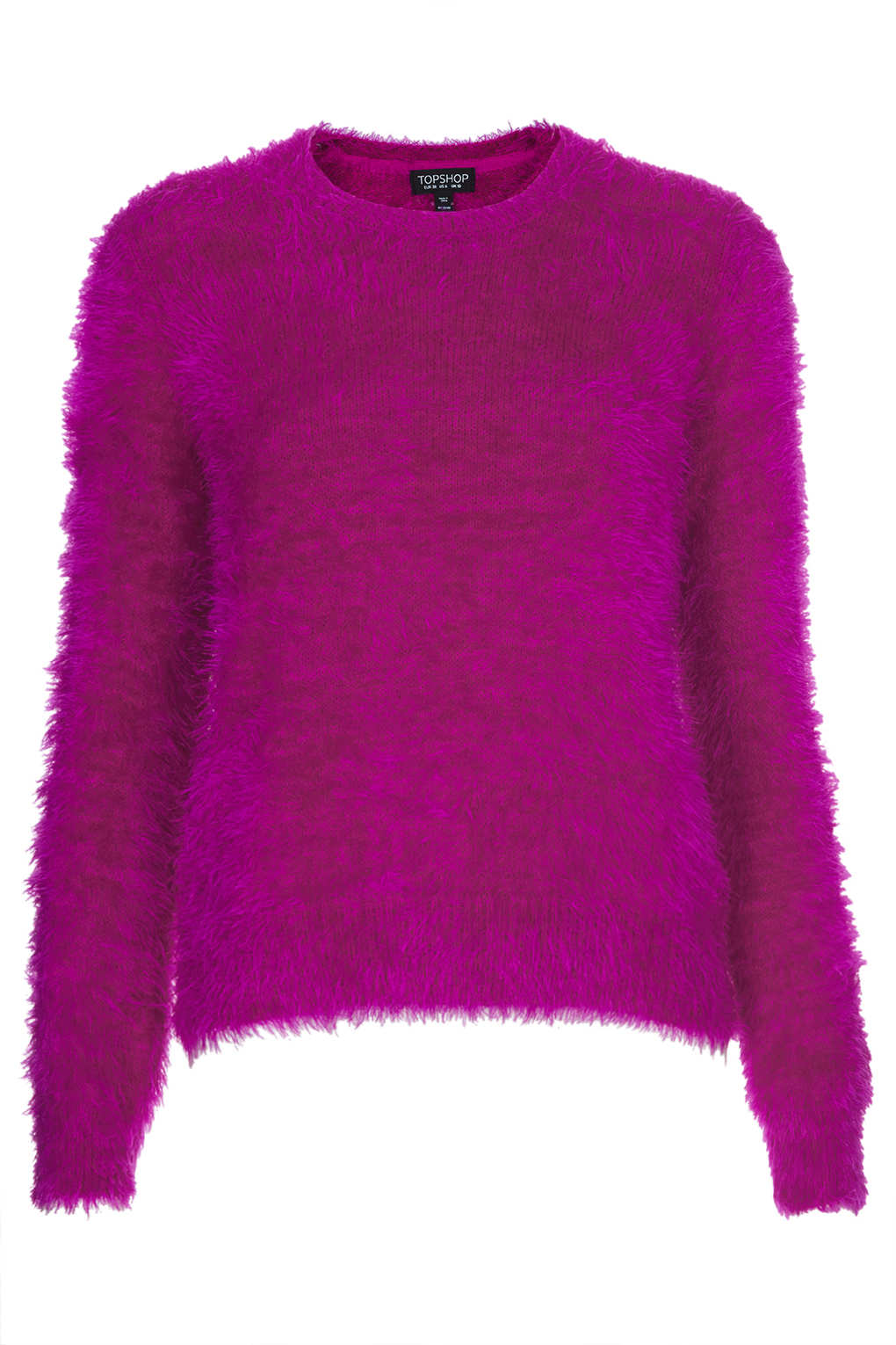 Topshop Knitted Fluffy Crew Jumper in Pink | Lyst