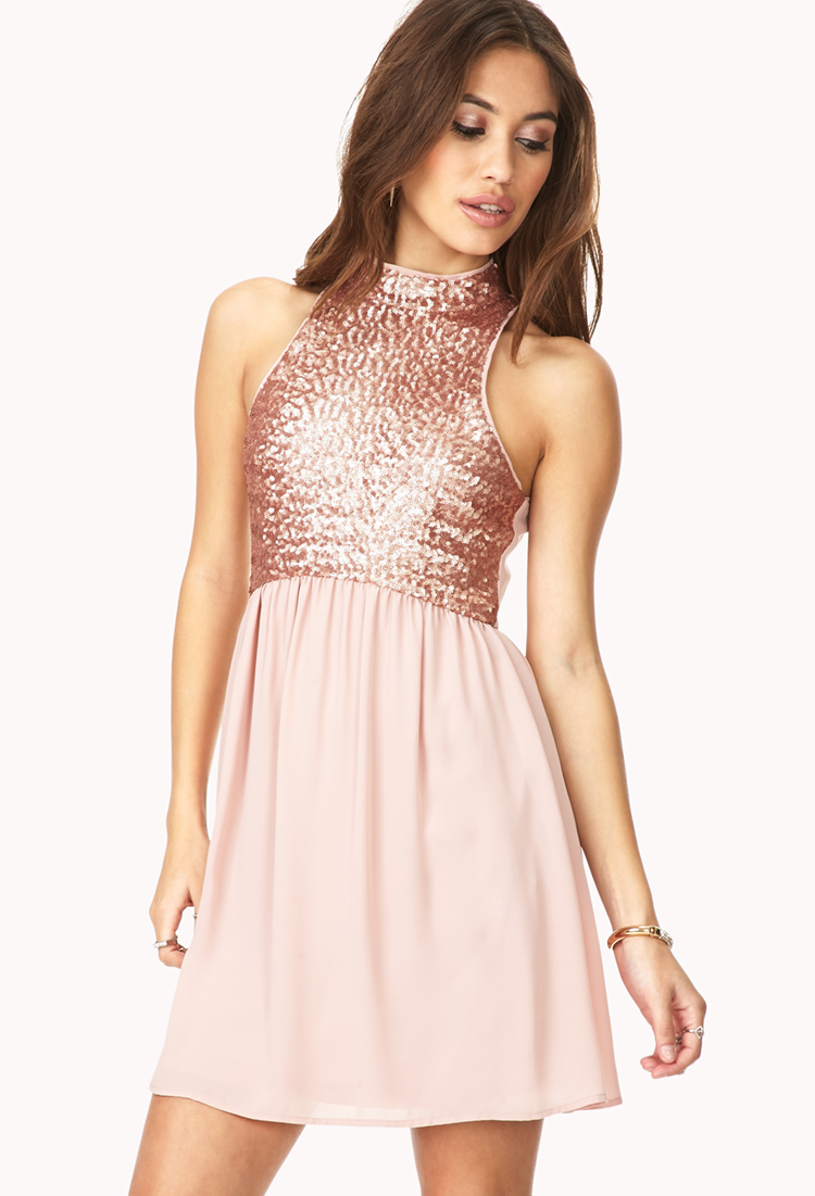 ccadf43ef15 Forever 21 Dazzling Darling Sequined Dress in Pink - Lyst