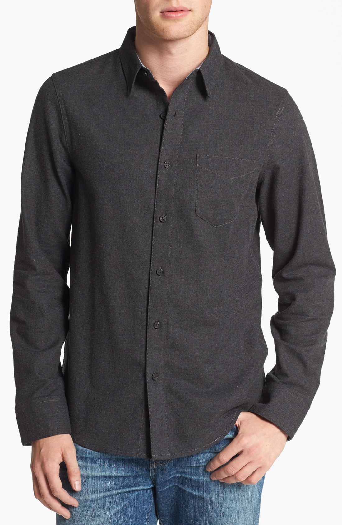 1901 Brushed Cotton Flannel Shirt In Gray For Men