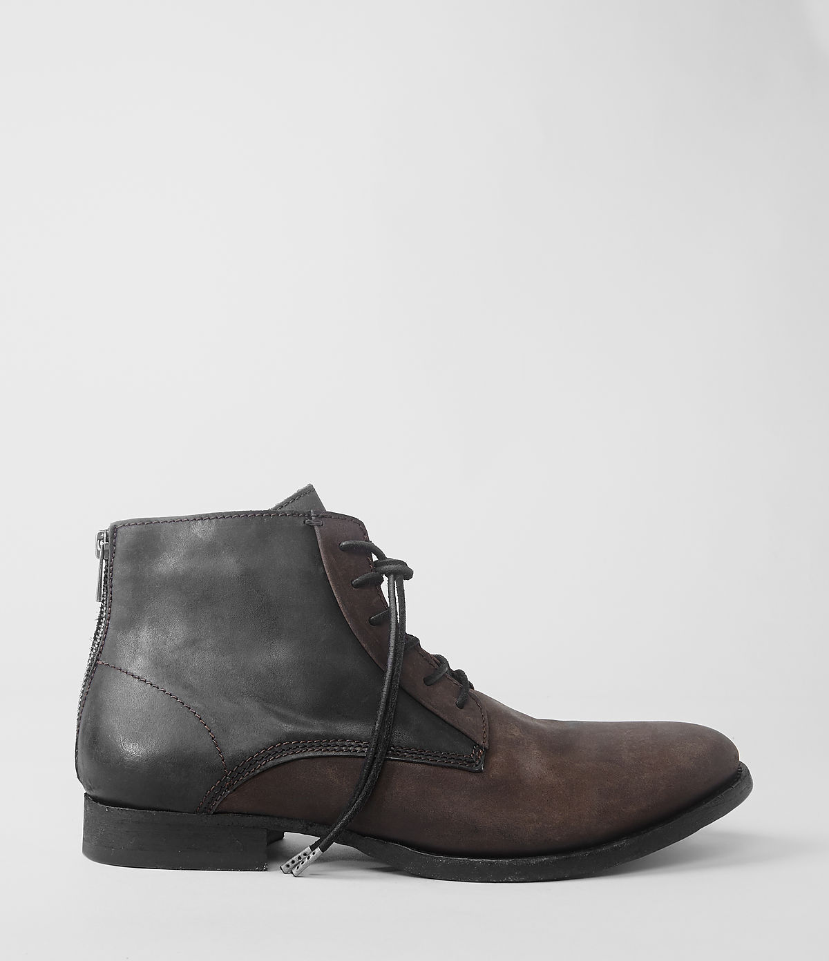 allsaints jet boot in brown for bitter chocolate lyst