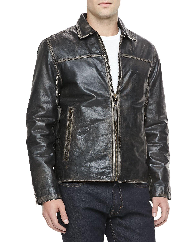 Andrew Marc Distressed Leather Moto Jacket Black For Men
