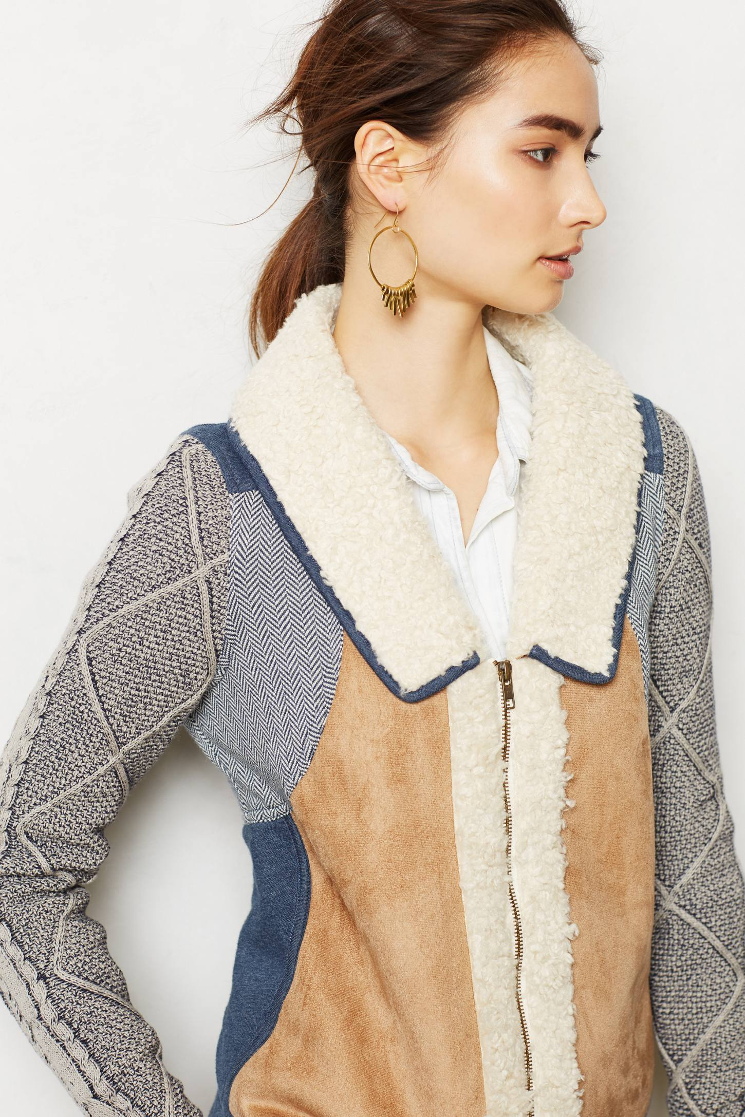 Anthropologie Patchwork Sherpa Swslv in Blue | Lyst