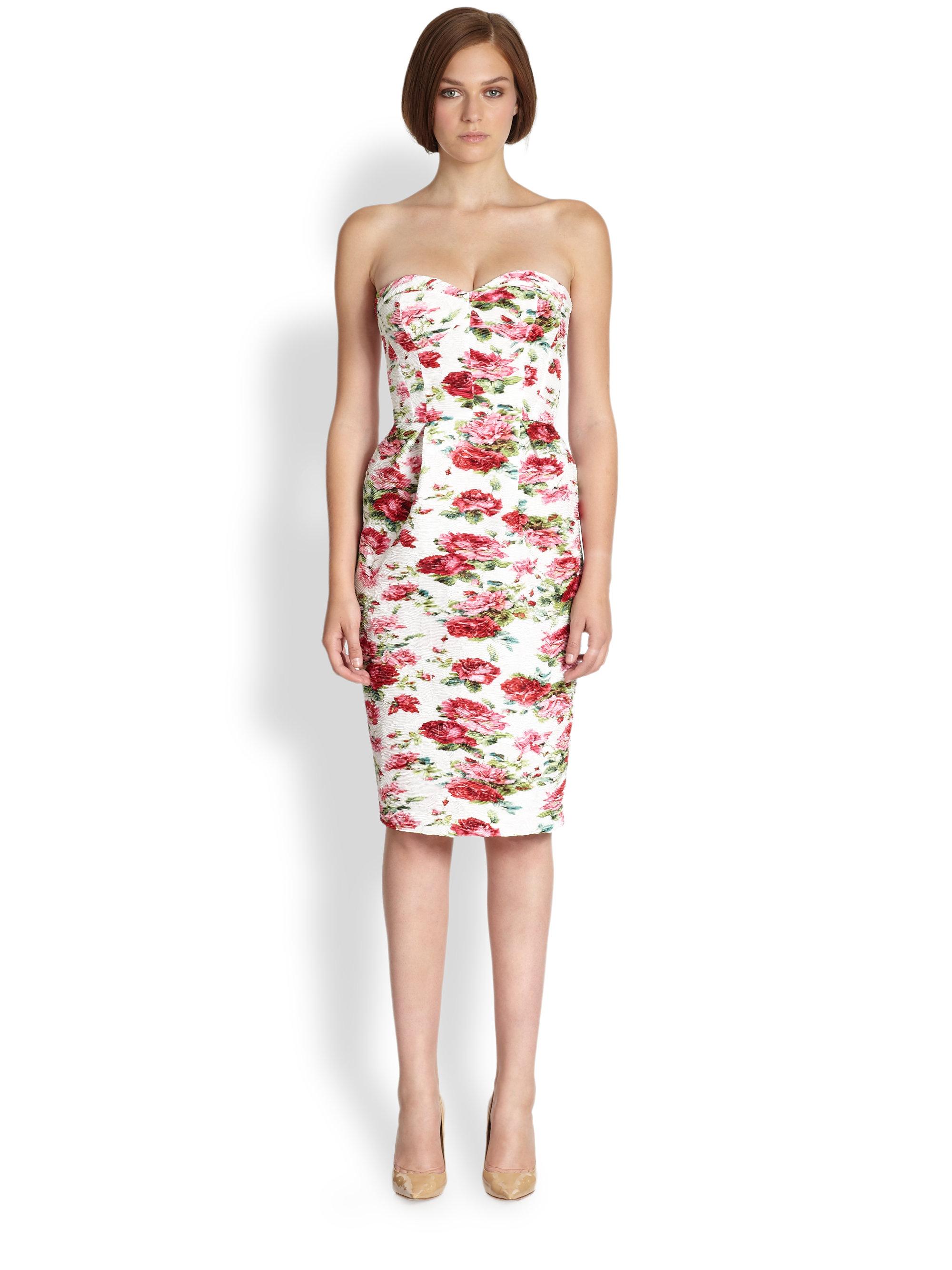 Antonio marras Strapless Rose Print Bustier Dress in Pink - Lyst