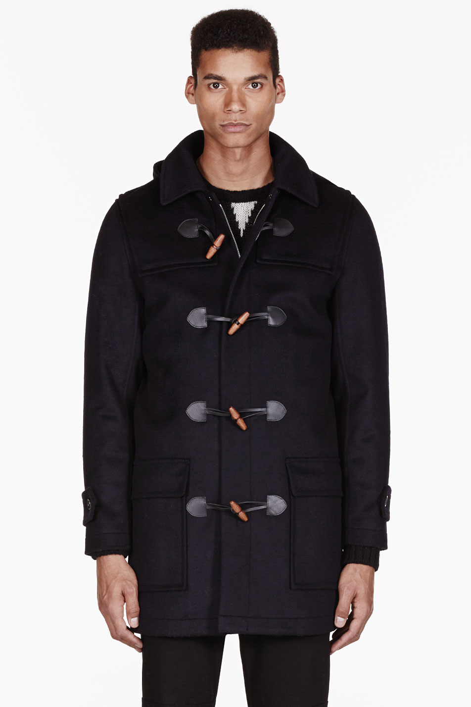 A.p.c. Navy Wool Hooded Uk Duffle Coat in Blue for Men | Lyst