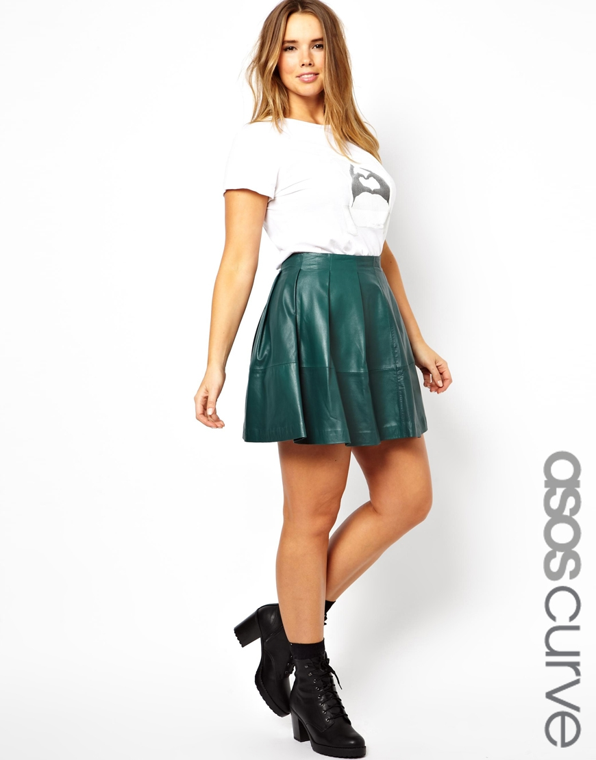 Asos Exclusive Skater Skirt In Leather in Green | Lyst