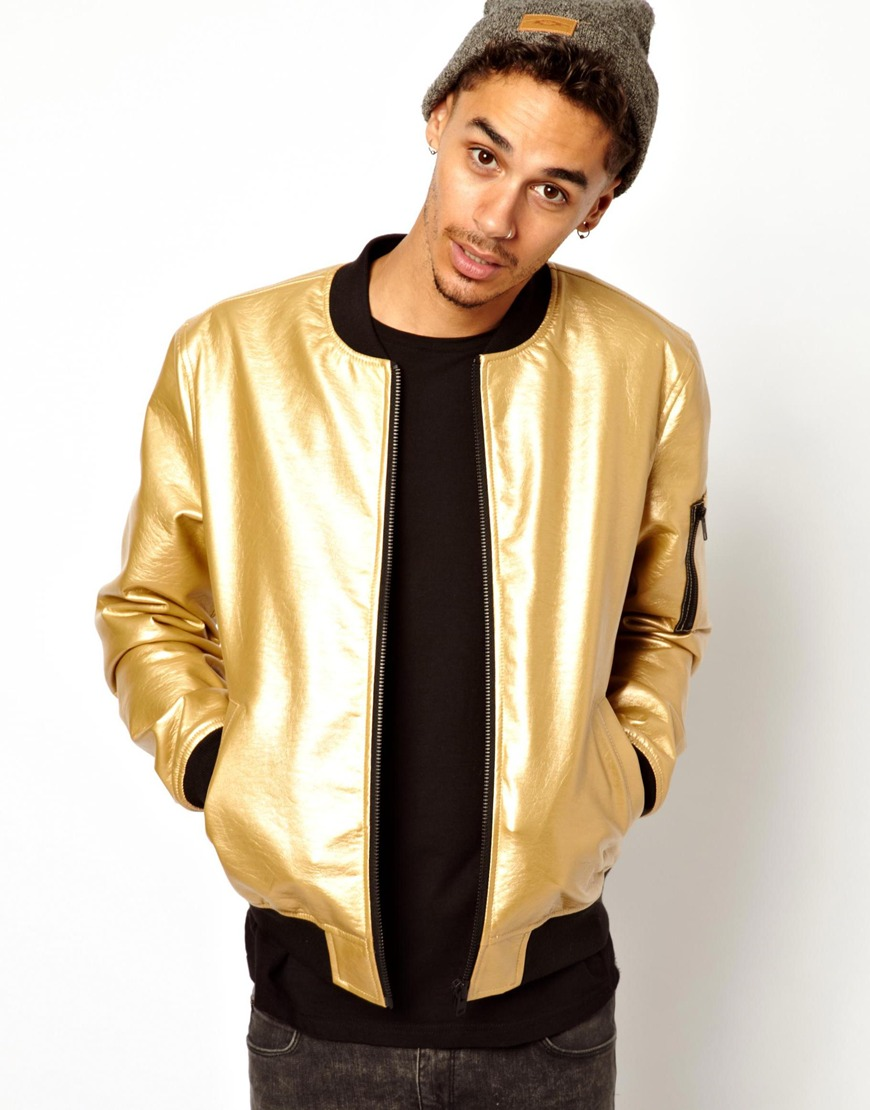 Asos Faux-Leather Bomber Jacket in Metallic for Men | Lyst