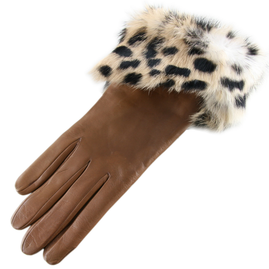 Black gloves with leopard trim - Gallery Women S Leather Gloves