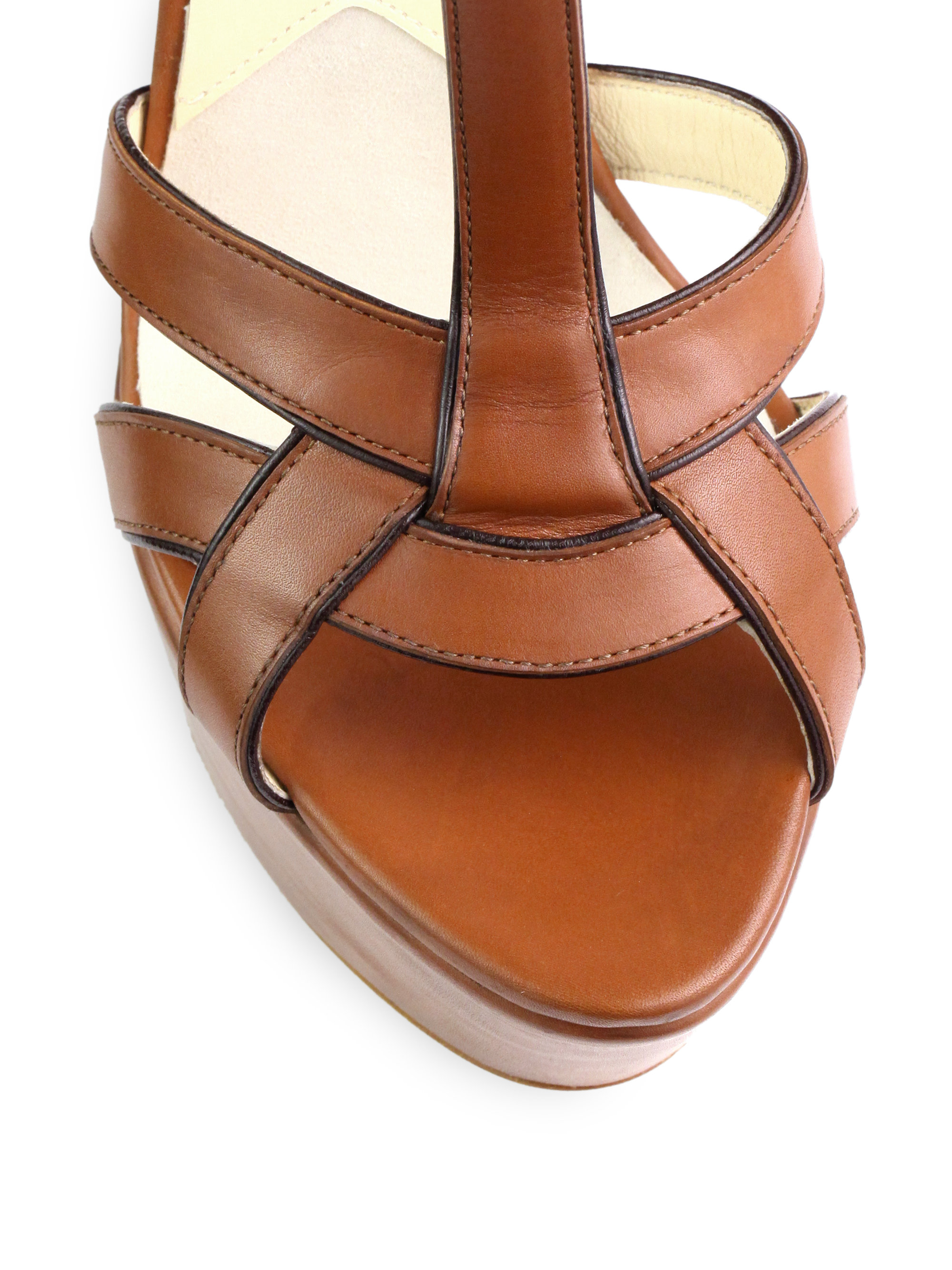 013d75d4f631 Lyst - Brian Atwood Sema Leather Wedge Sandals in Brown