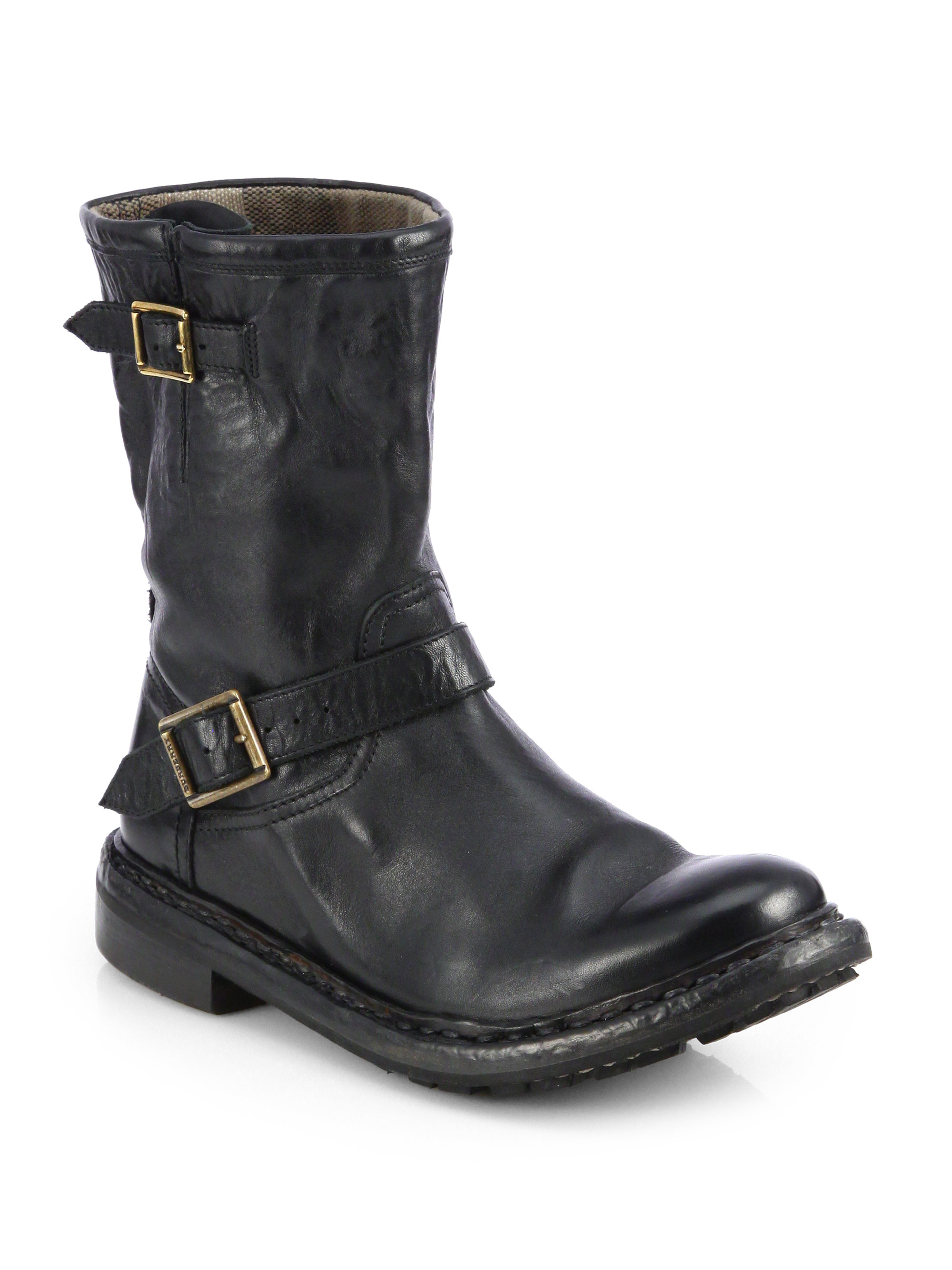 burberry andreck leather moto boots in black lyst