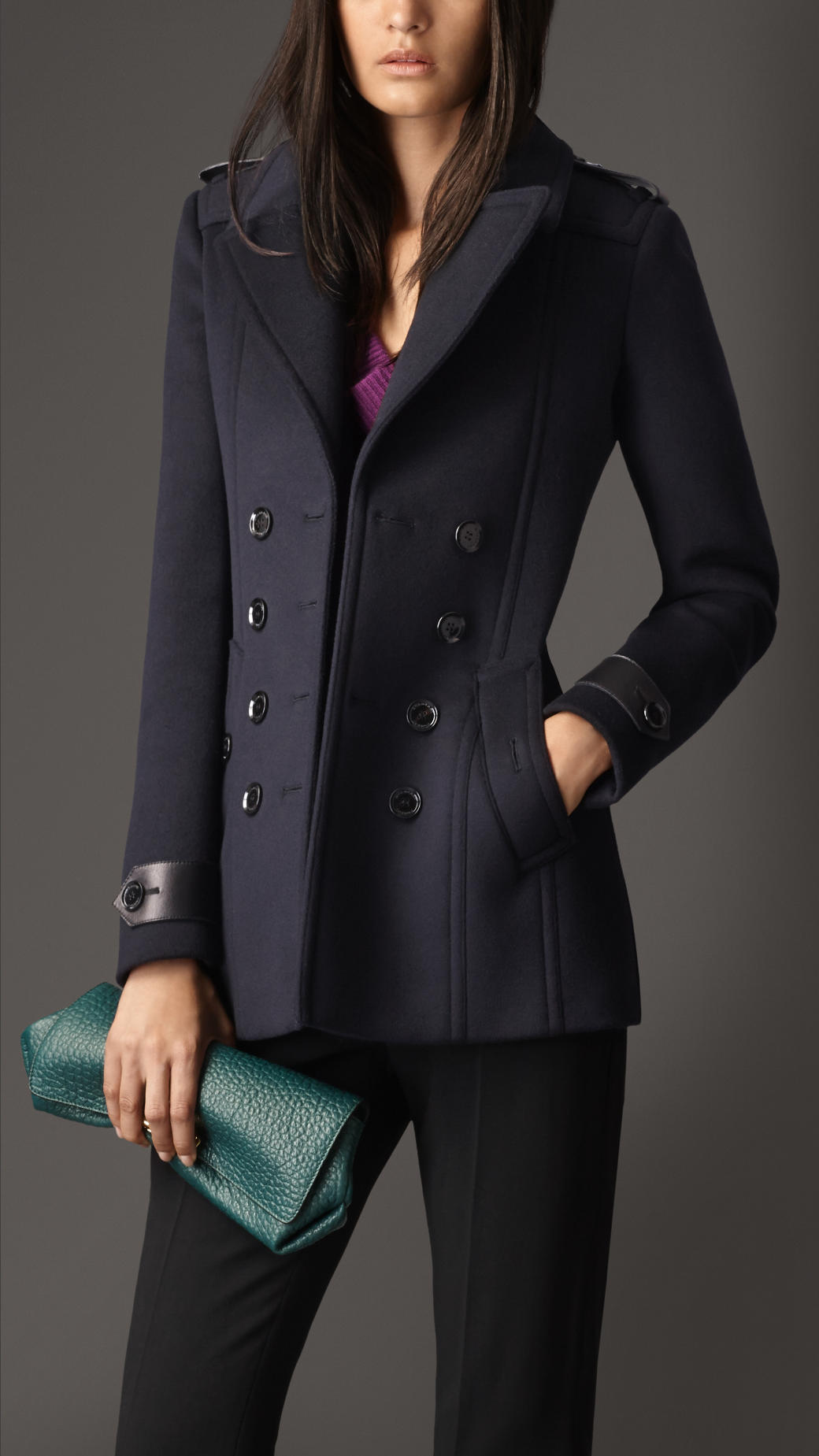 Burberry Tailored Wool Cashmere Pea Coat in Blue - Lyst e95bf35a0