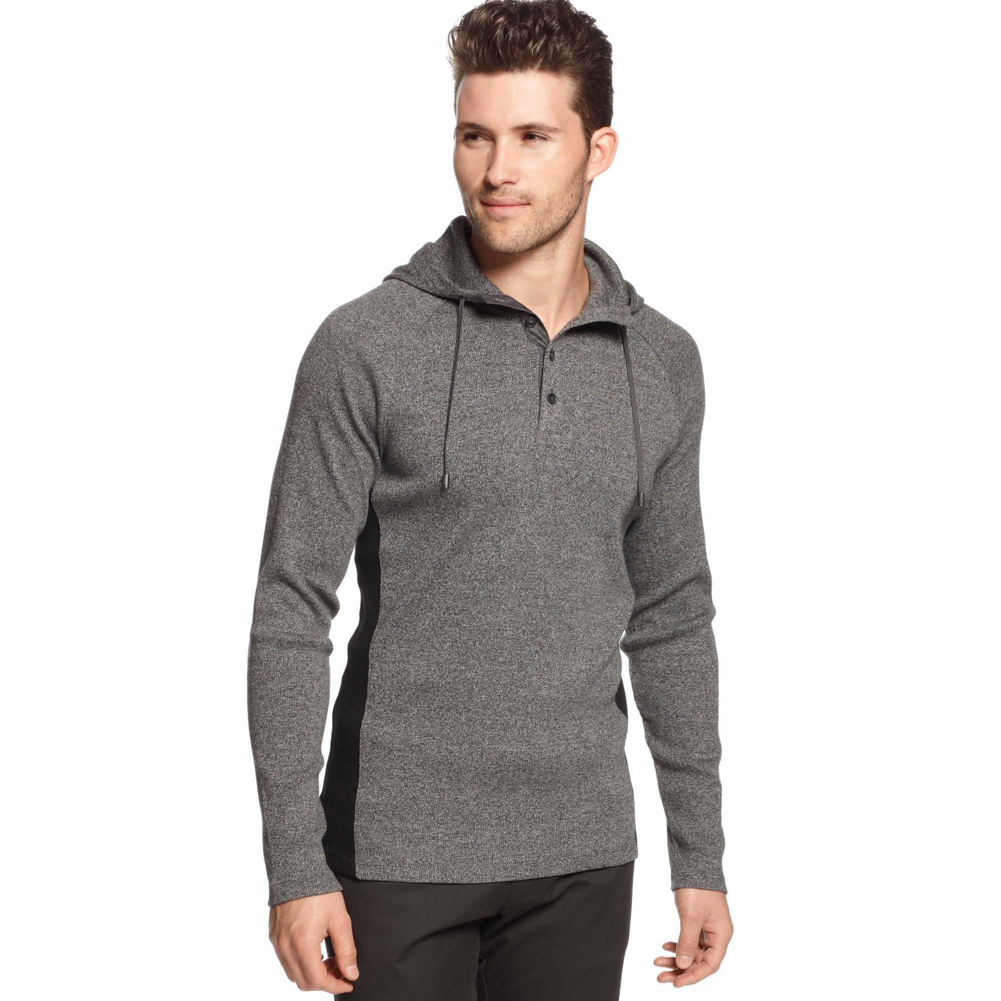 calvin klein jeans henley hoodie in gray for men black marled lyst. Black Bedroom Furniture Sets. Home Design Ideas