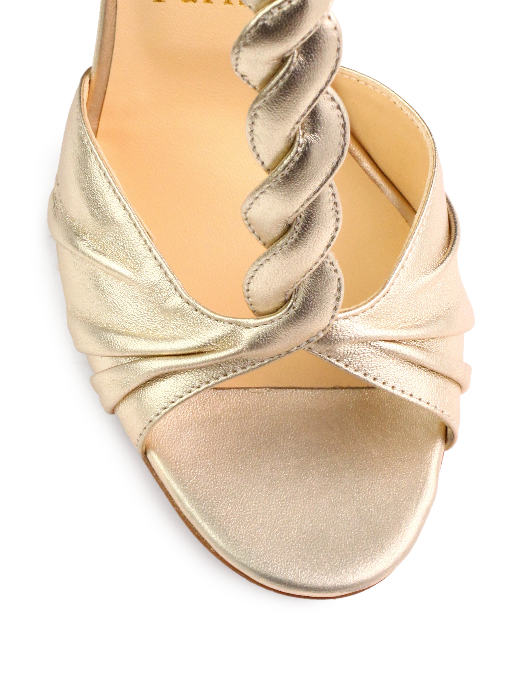 2547de4afbc Christian louboutin Jazzy Doll Metallic Leather Sandals in Gold