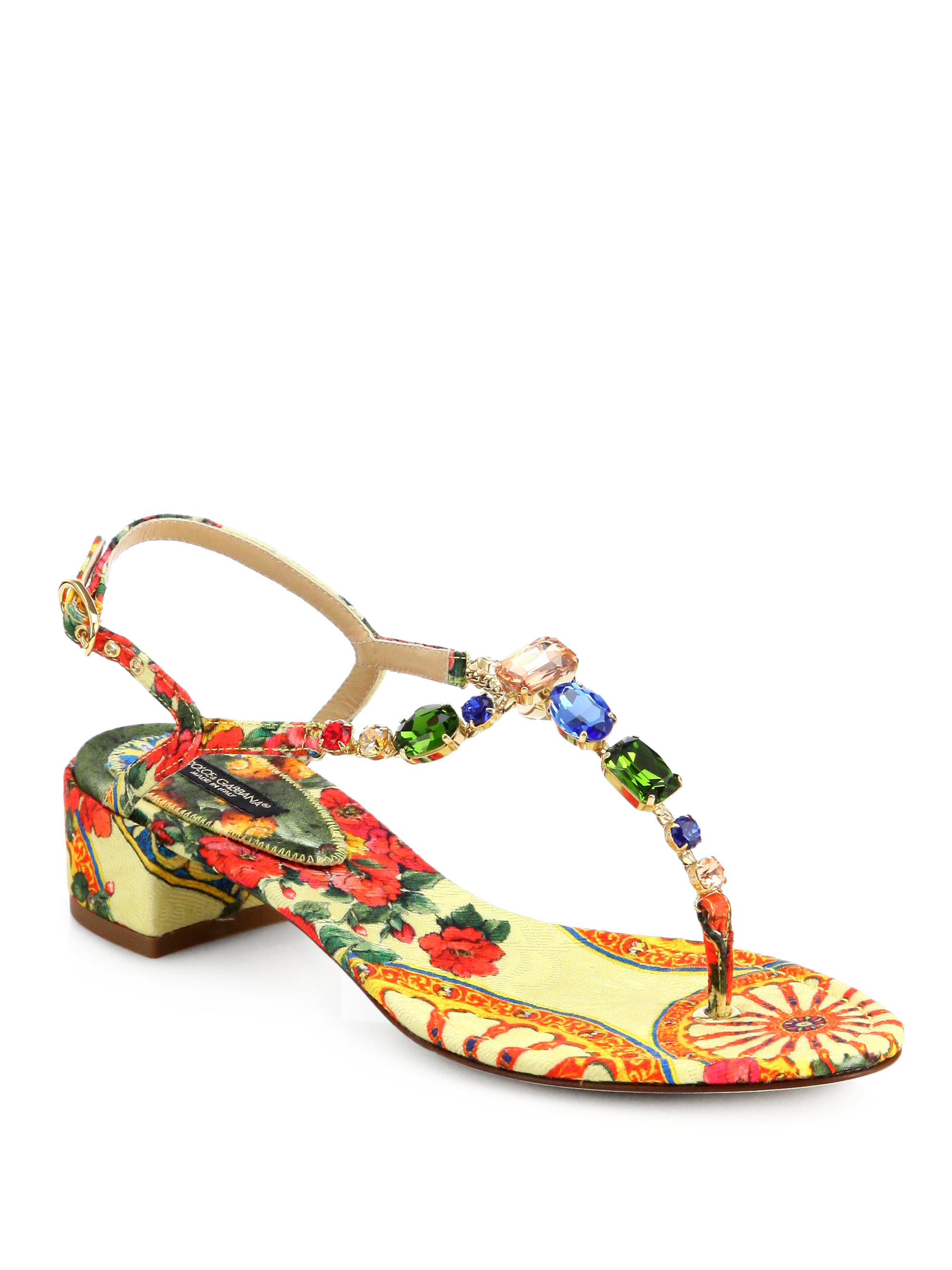 30bd10b9431eb Lyst - Dolce   Gabbana Jeweled Floral print Blockheel Sandals