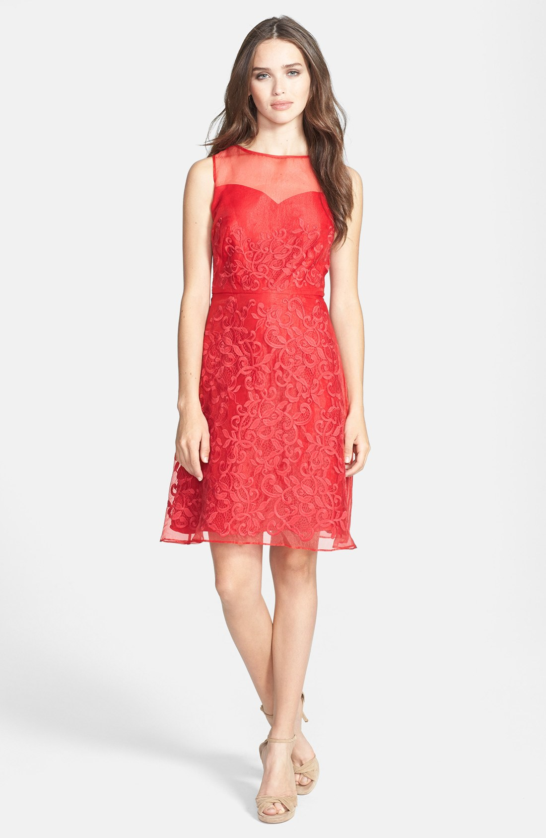 Donna Morgan Embroidered Organza Fit Flare Dress In Red