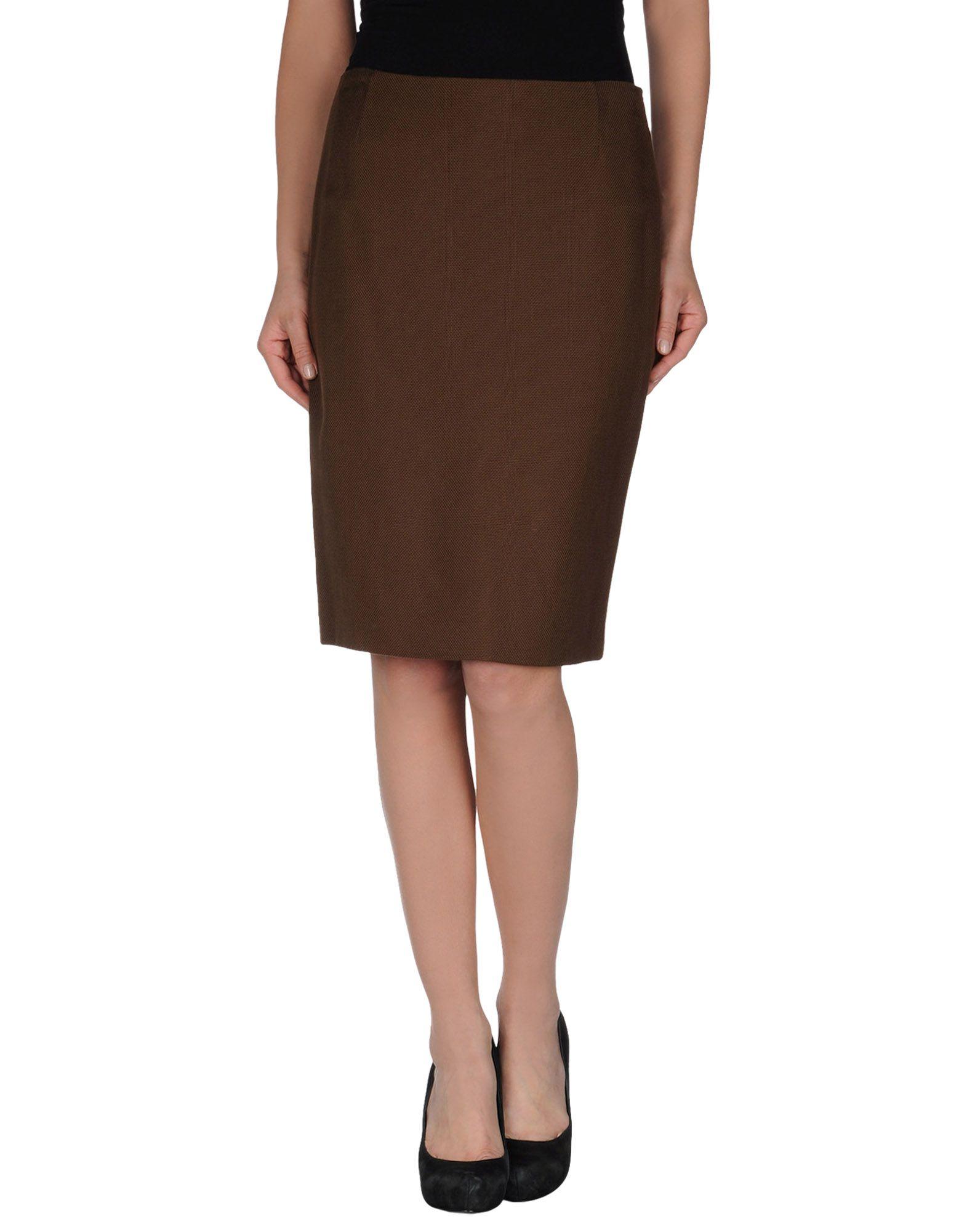 escada knee length skirt in brown lyst