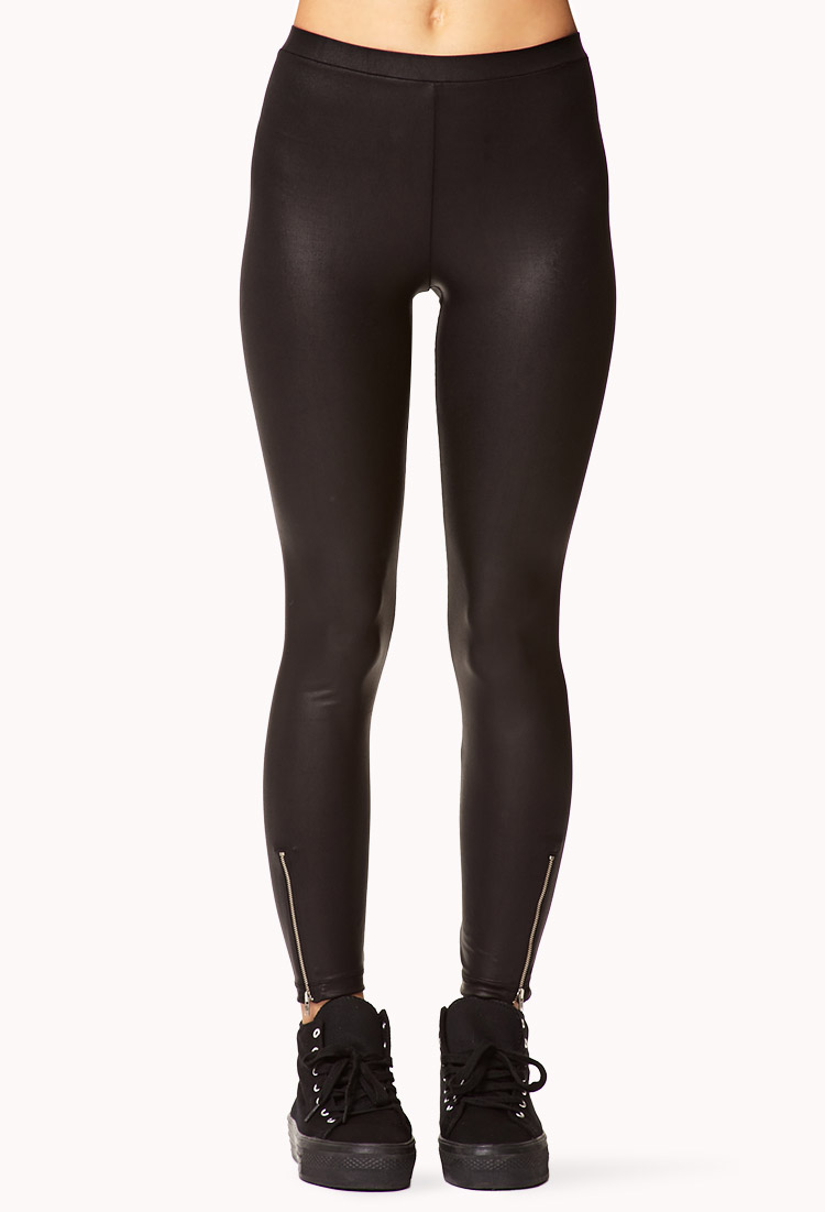Forever 21 Zippered Faux Leather Leggings in Black | Lyst