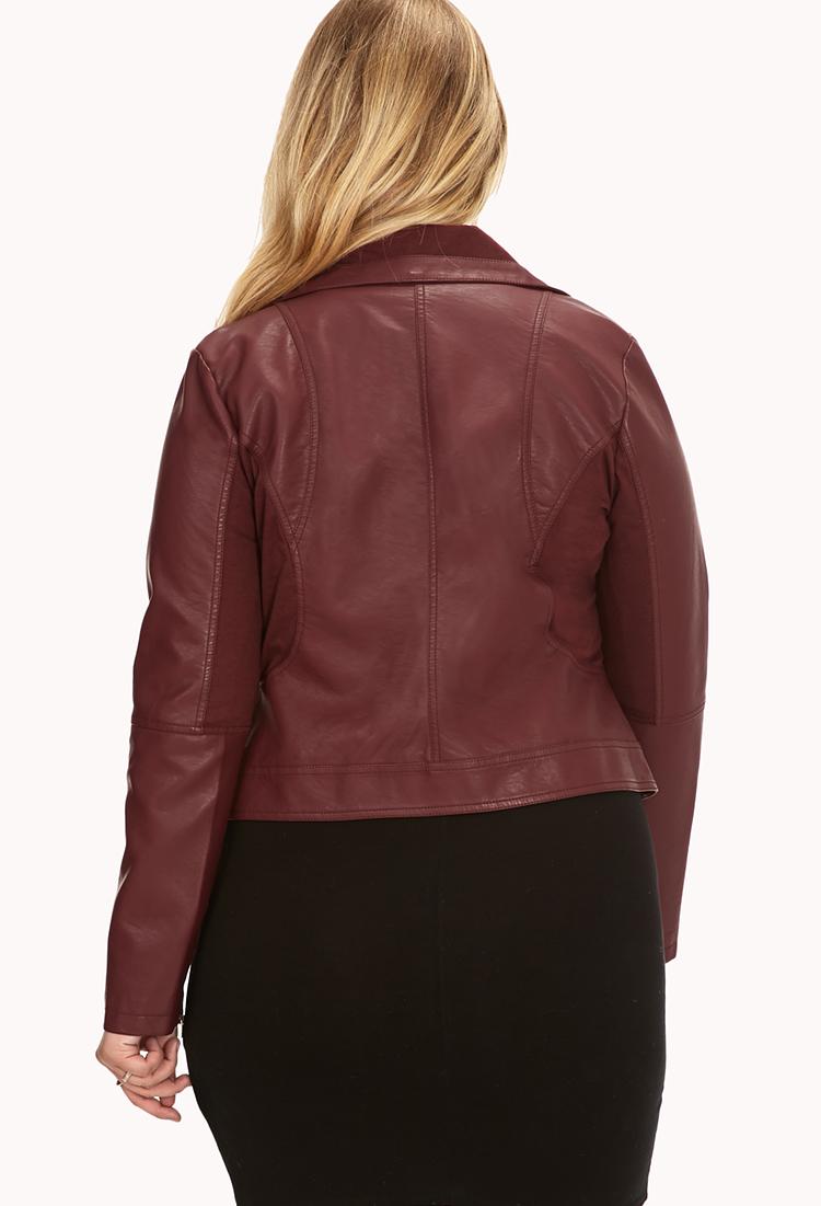 Burgundy faux leather jacket