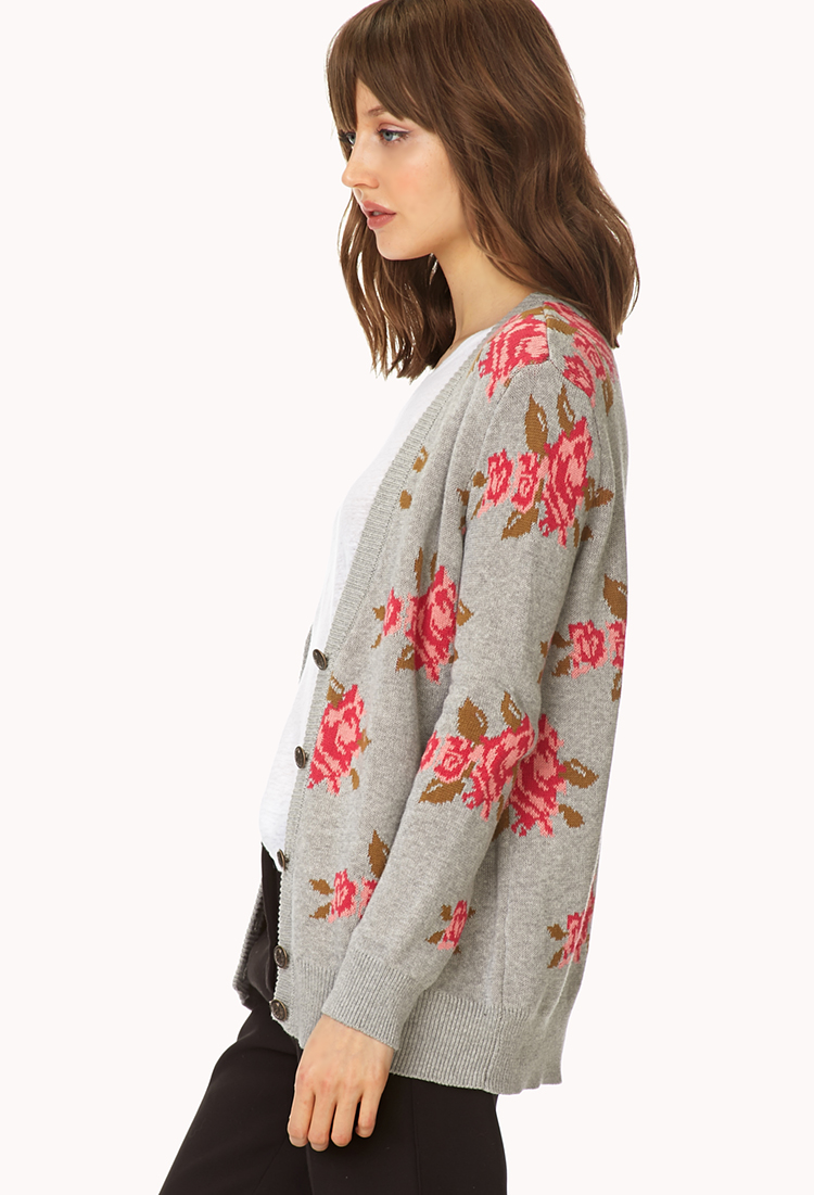 forever 21 darling floral cardigan in pink