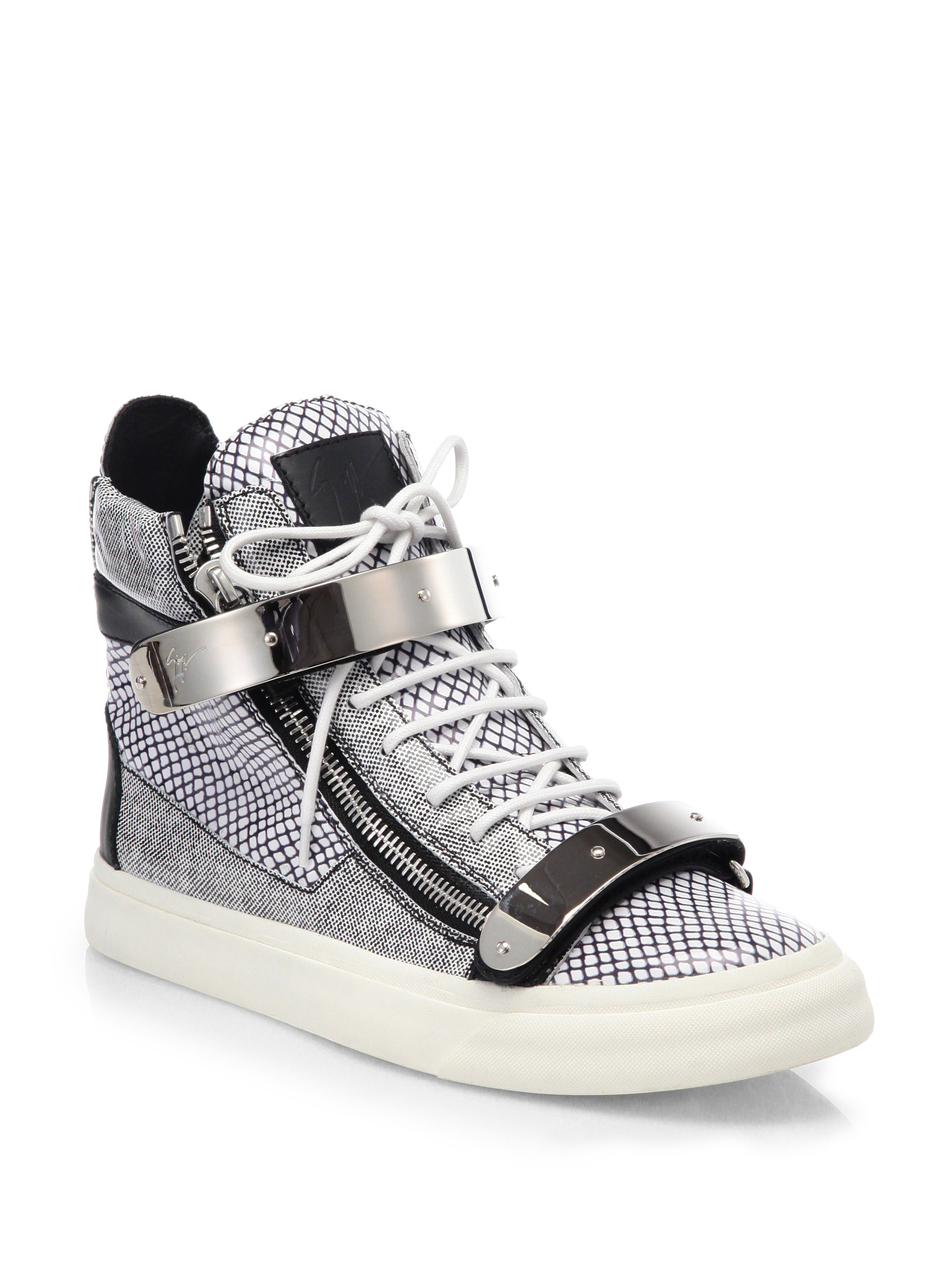 Lyst Giuseppe Zanotti Scribble Hightop Sneakers In White