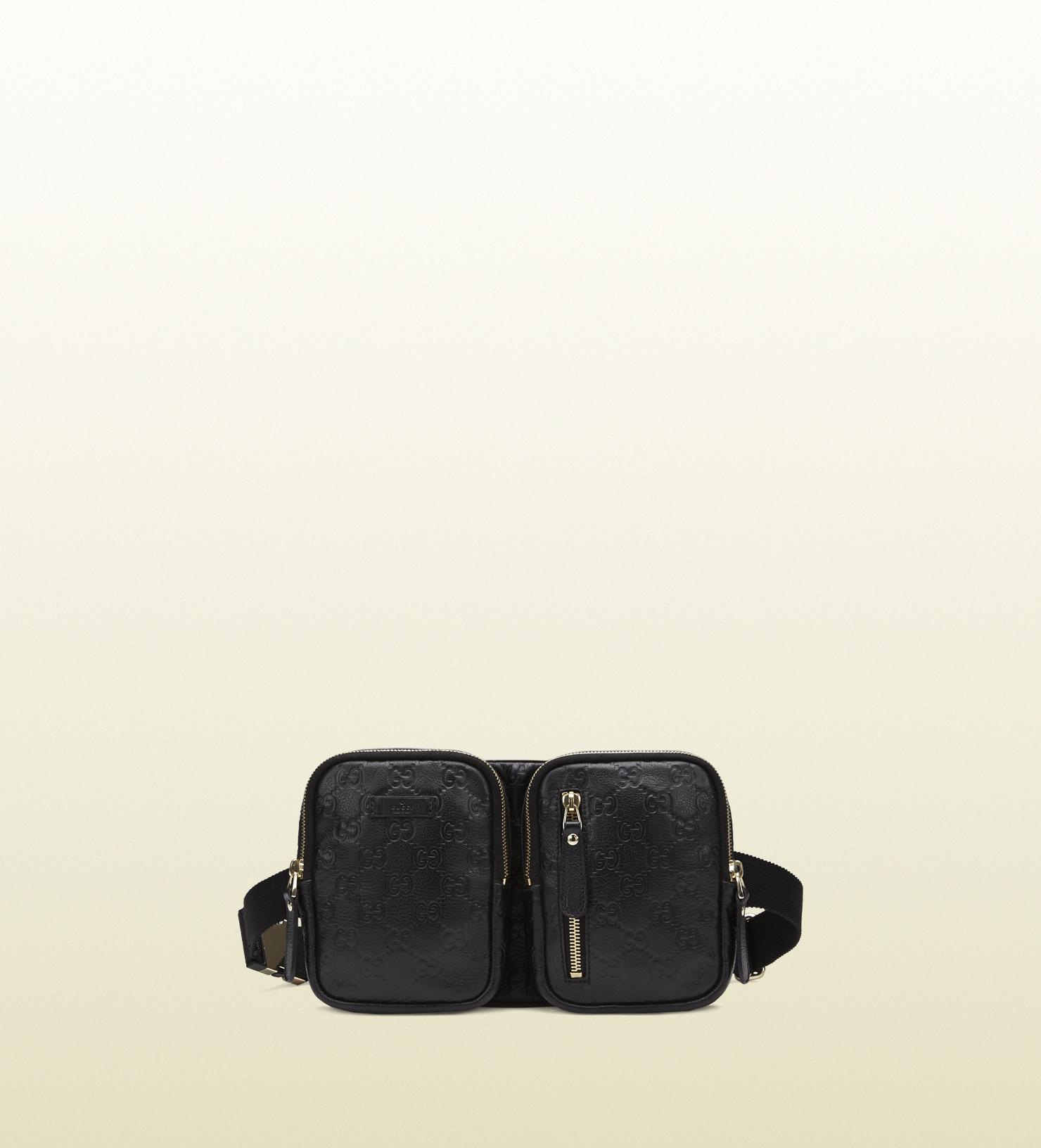 c68c02c4a5a Gucci Black Ssima Leather Belt Bag in Black for Men - Lyst