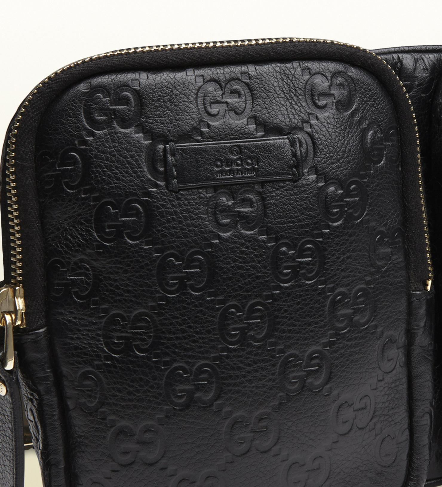 cb1abd62cf66 Gucci Black Ssima Leather Belt Bag in Black for Men - Lyst
