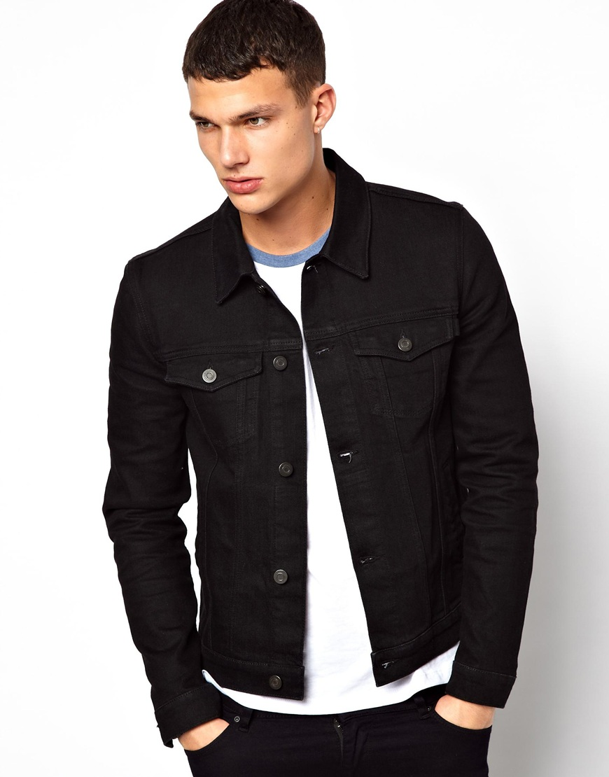 Asos Denim Jacket In Skinny Fit in Black for Men | Lyst
