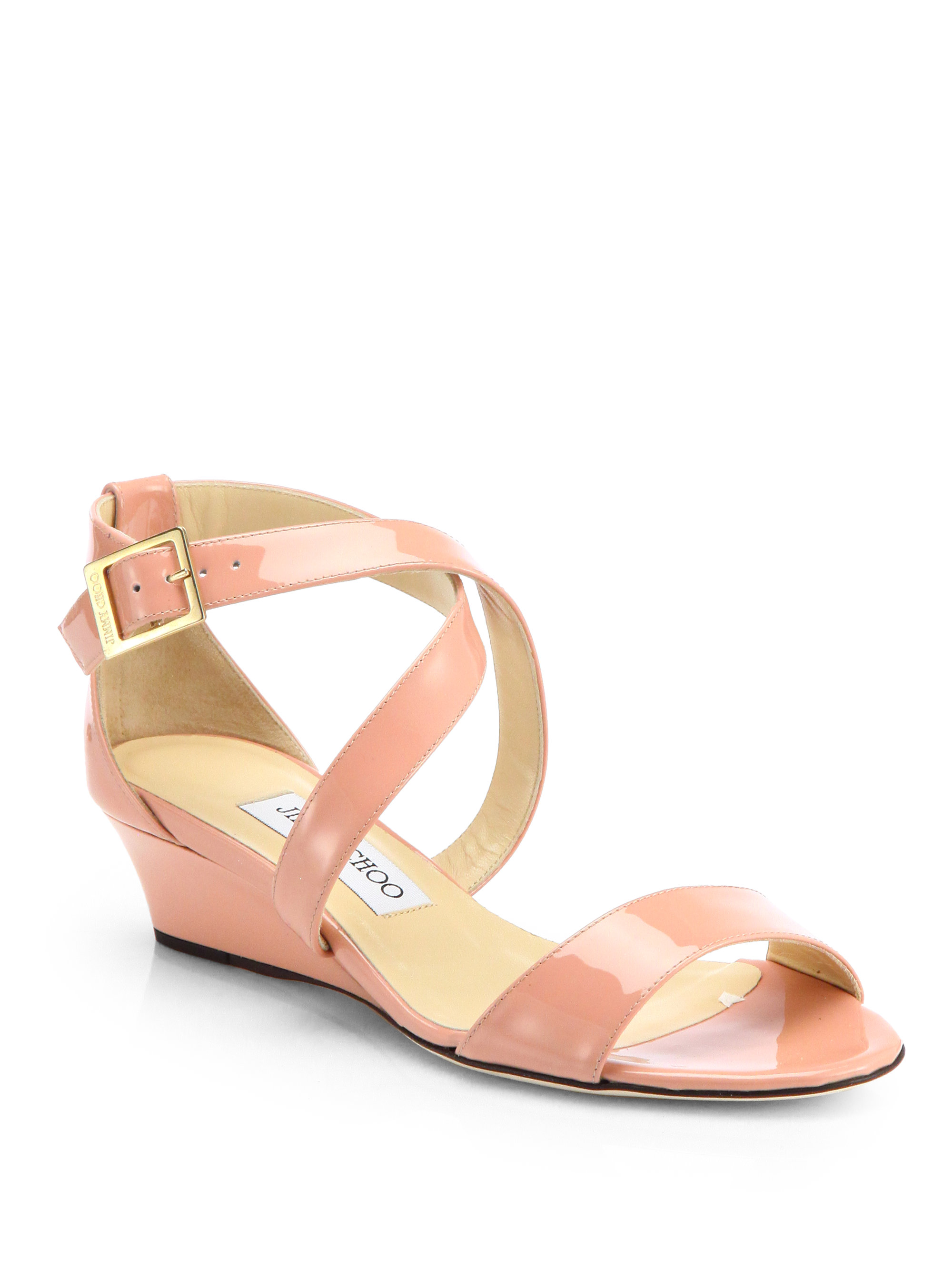 jimmy choo chiara patent leather wedge sandals in pink