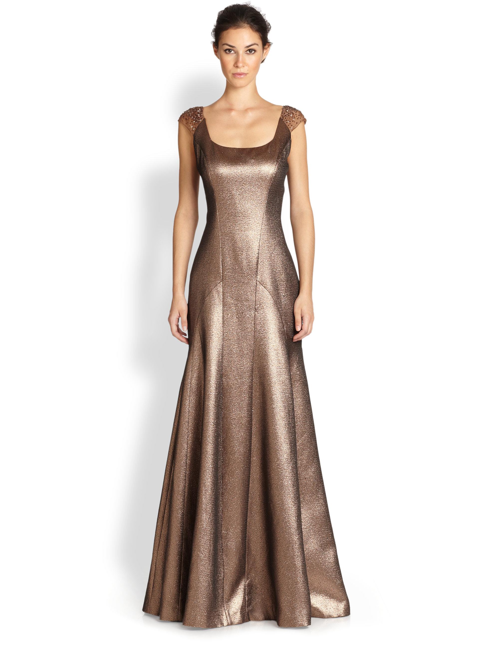 Lyst Kay Unger Capsleeve Metallic Mermaid Gown In Brown