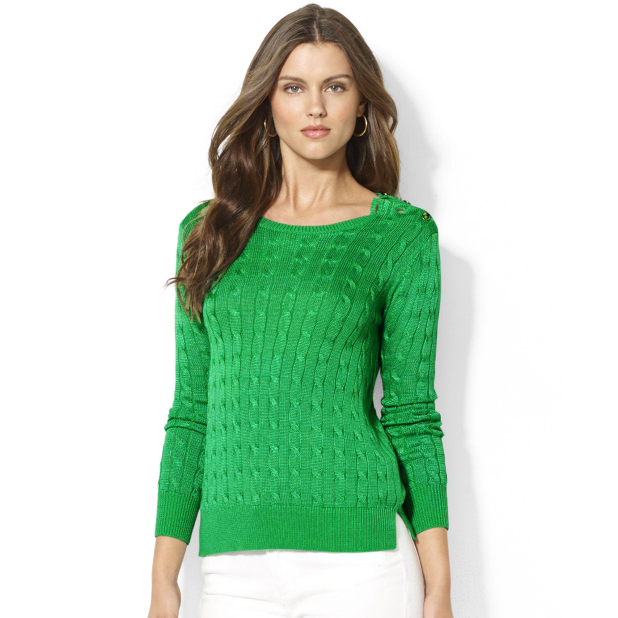 Lyst - Lauren by Ralph Lauren Petite Button detailed Cable-knit ... 987710755668