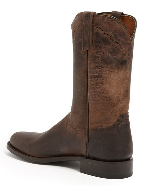 Lucchese Goat Roper Argyle Stitch Leather Boot In