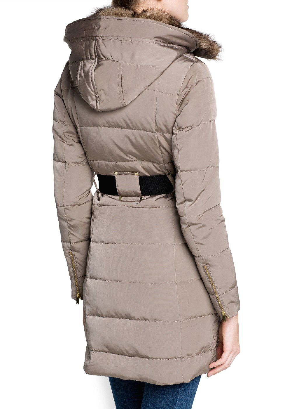 Mango Belted Down Feather Long Coat in Brown | Lyst