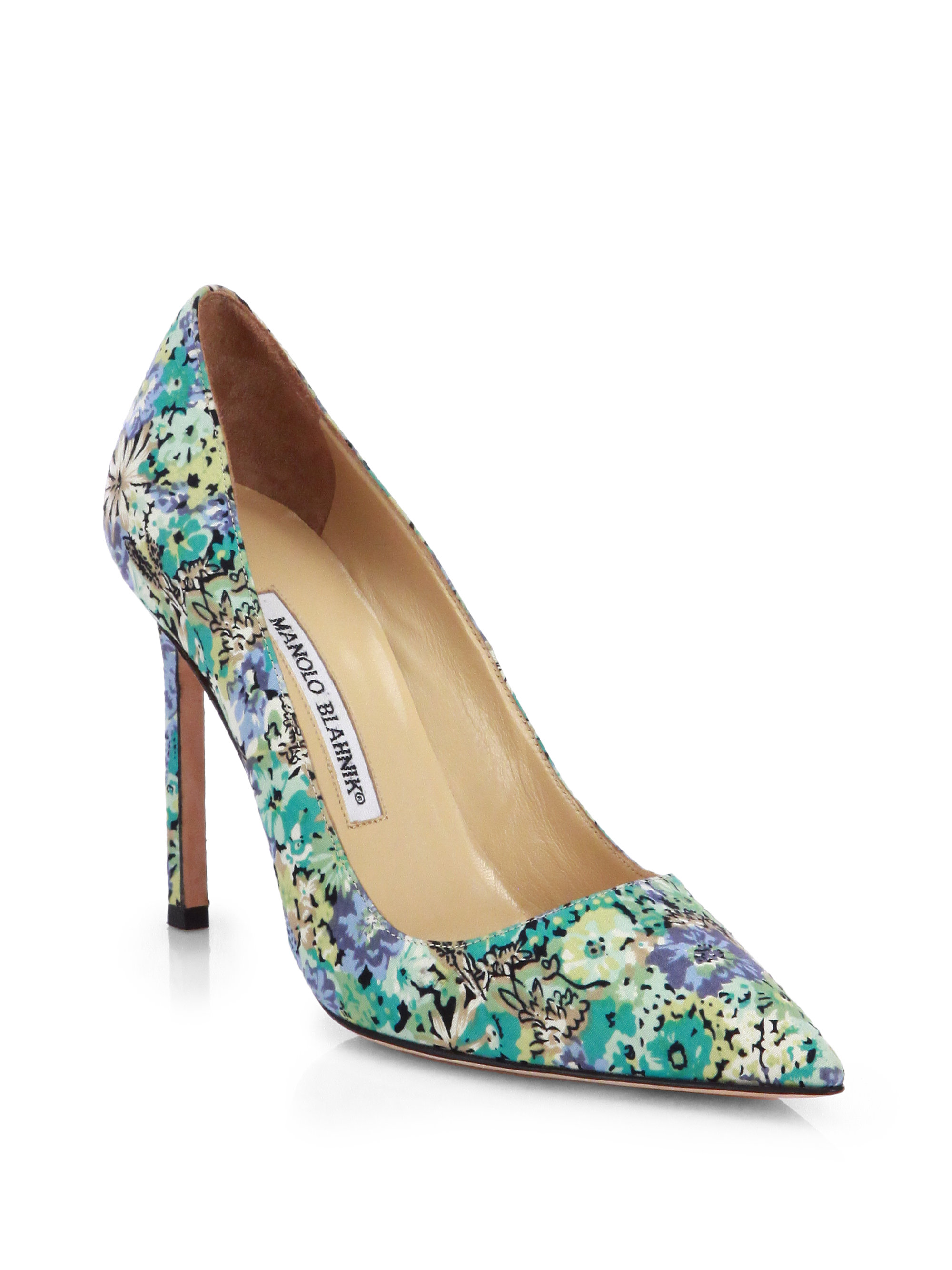 b5e901908da3 Lyst - Manolo Blahnik Bb Floralprint Pumps in Blue