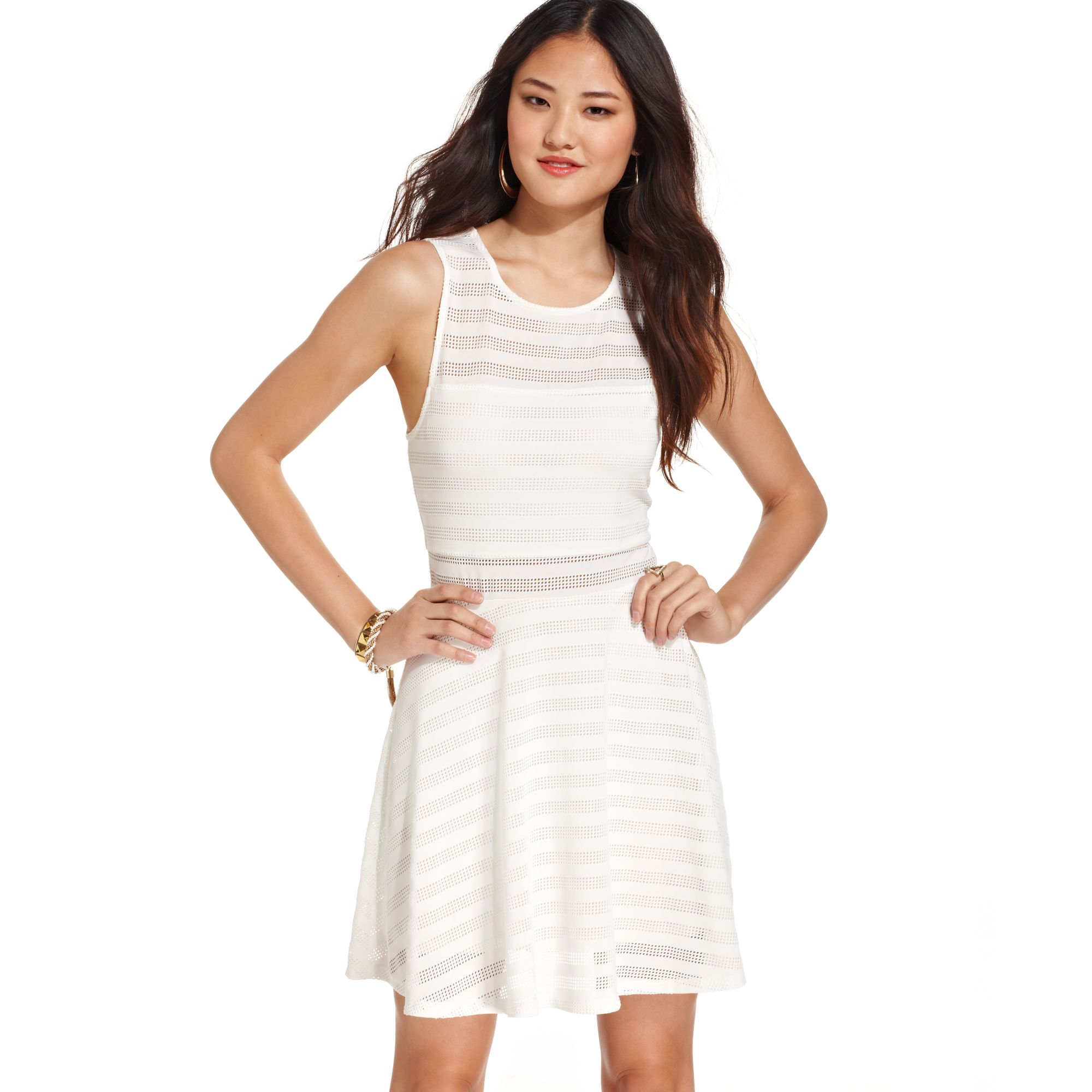 Material girl Juniors Striped Illusion Dress in White | Lyst