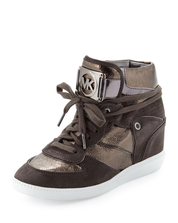 michael michael kors nikko hightop sneaker in brown nickel lyst. Black Bedroom Furniture Sets. Home Design Ideas