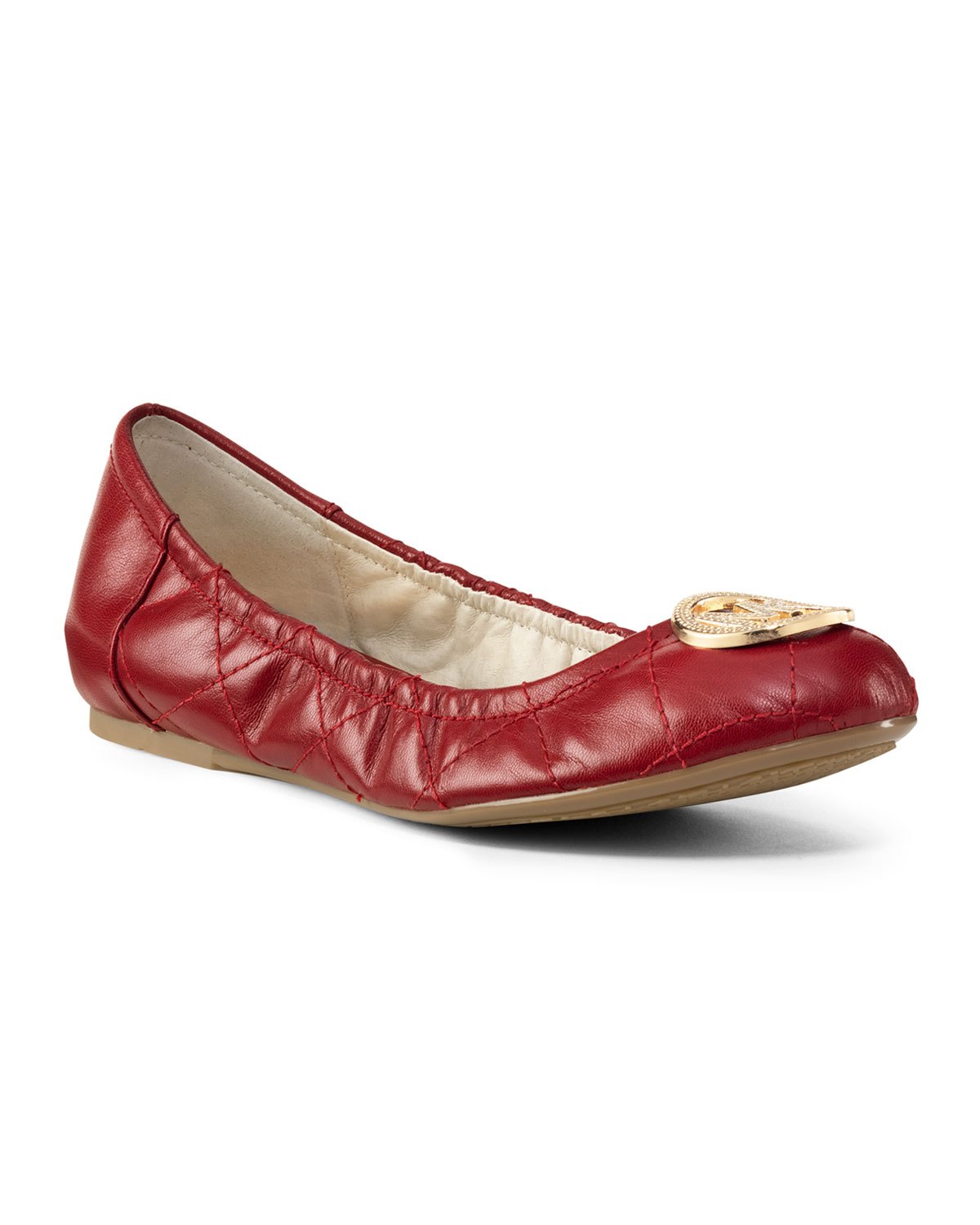 Michael Kors Michael Fulton Quilted Ballet Flat In Red Lyst