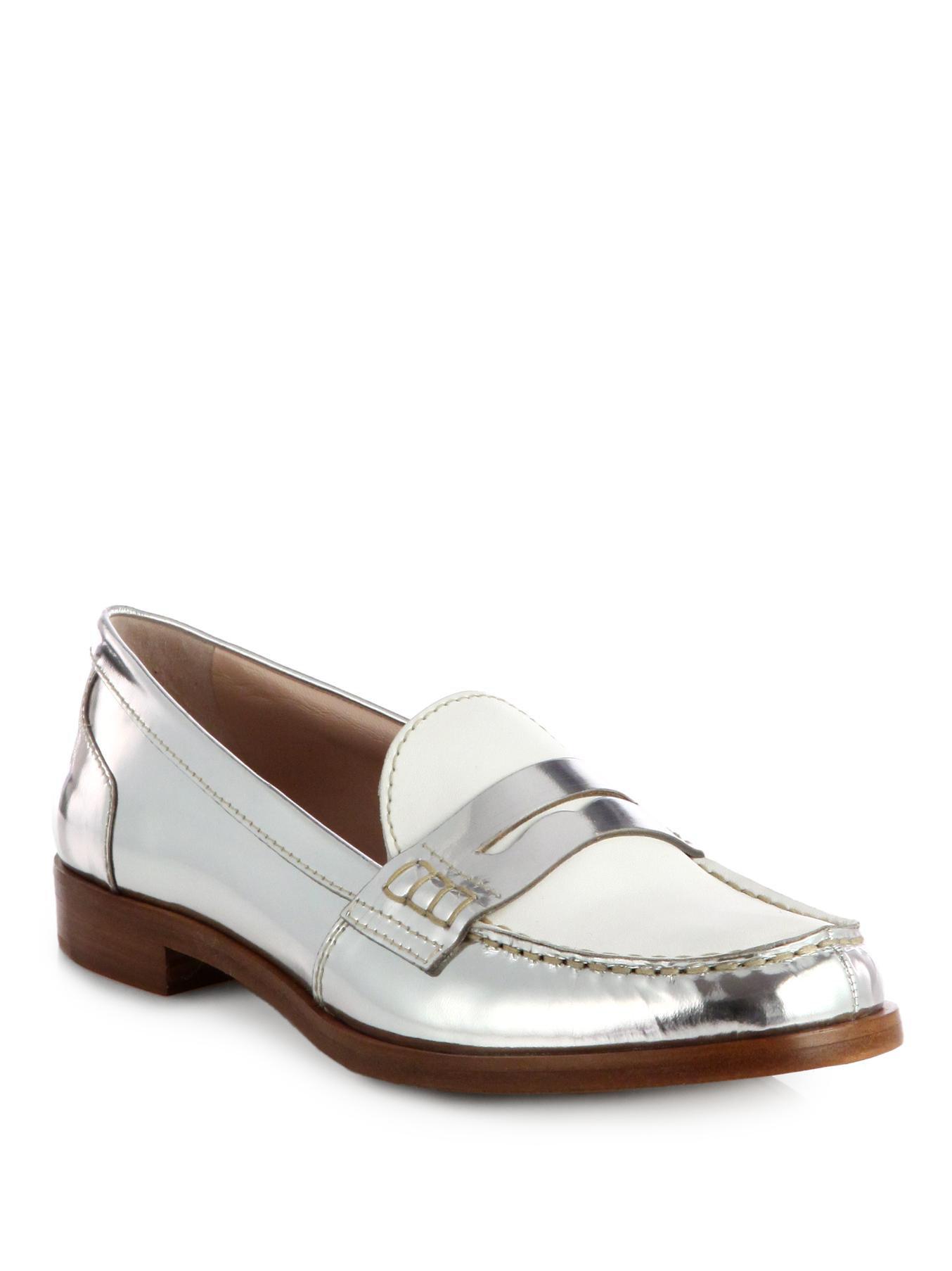 b03ee823e Lyst - Miu Miu Bicolor Metallic Leather Loafers in Metallic