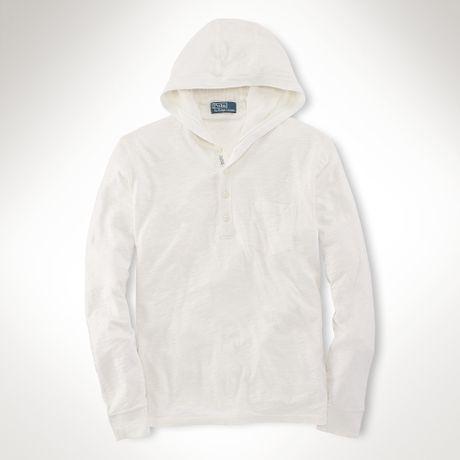 Polo Ralph Lauren Pima Cotton Henley Hoodie in White for Men (Ivory