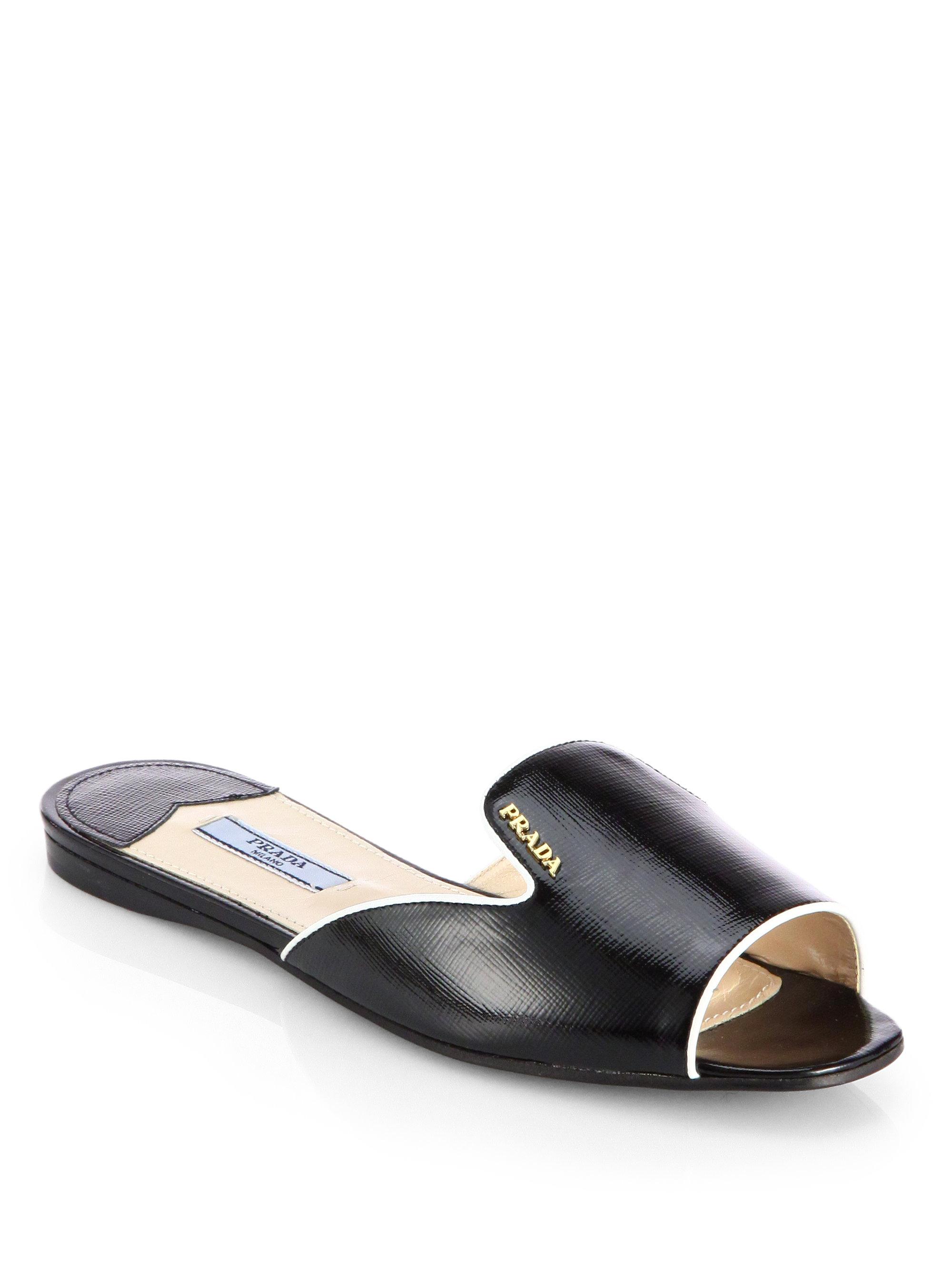 Lyst Prada Bicolor Saffiano Patent Leather Slides In Black