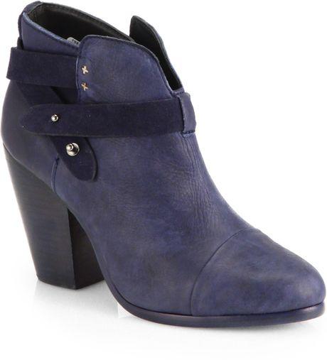 rag bone harrow twotone suede ankle boots in blue navy
