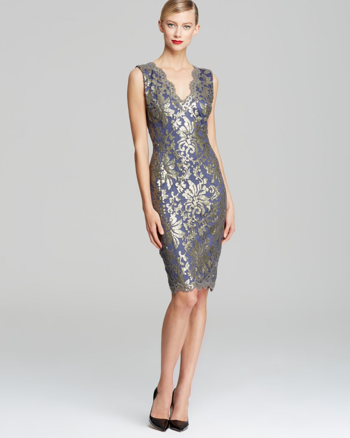 255db0ec2a Tadashi Shoji V Neck Sequin Embroidered Shift Dress Sleeveless in ...