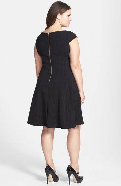 Taylor Dresses Textured Knit Fit Flare Dress In Black Lyst
