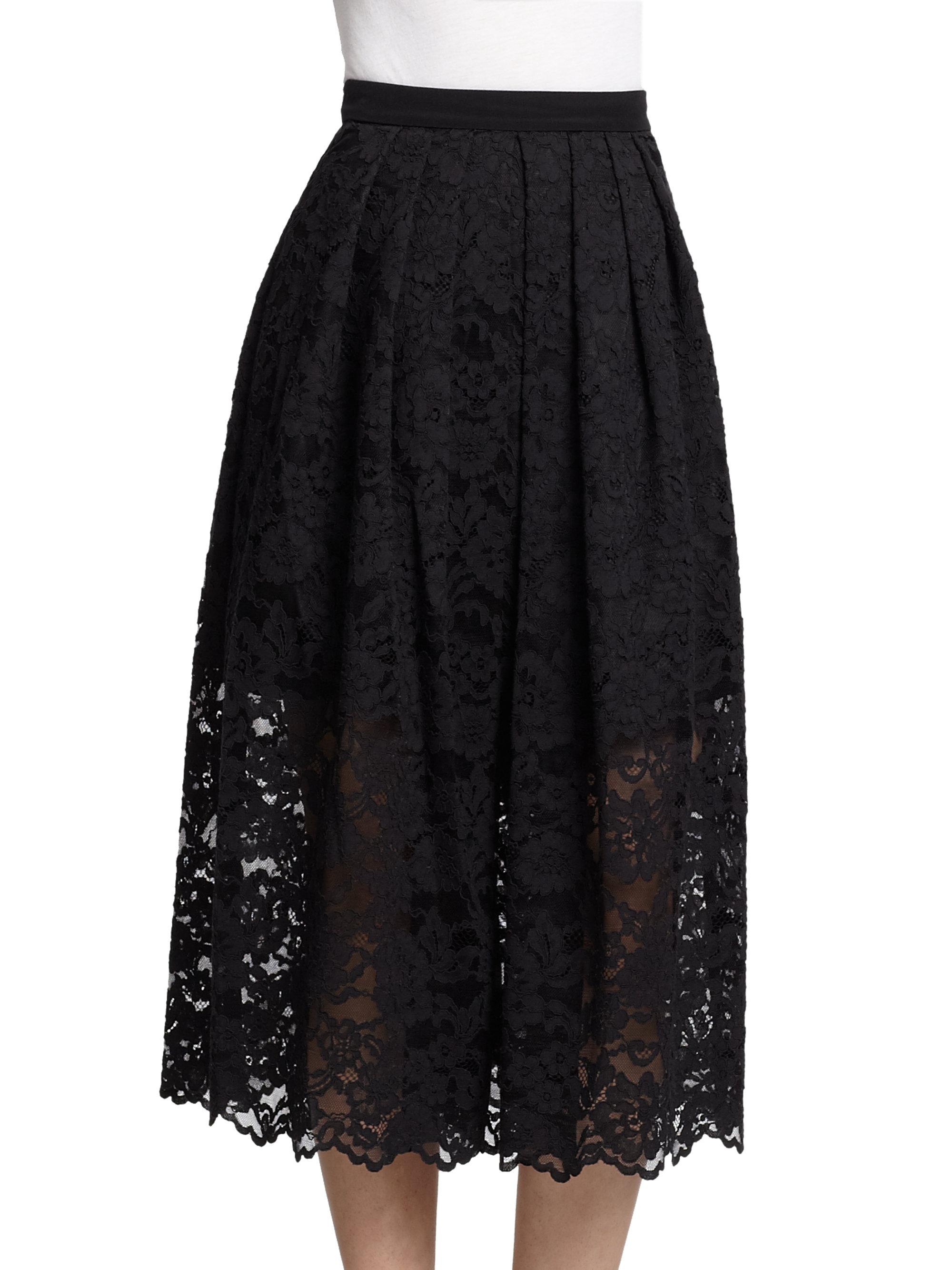 tibi lace midi skirt in black lyst