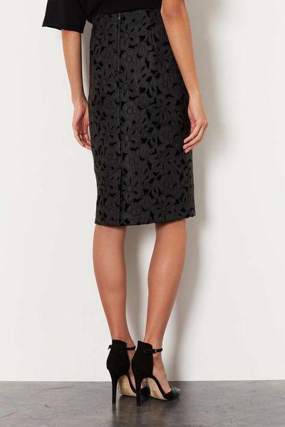 topshop floral lazer cut pencil skirt in black lyst
