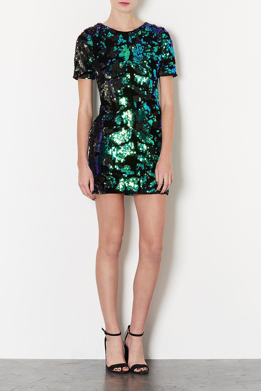 Lyst Topshop Sequin Velvet Dress In Green