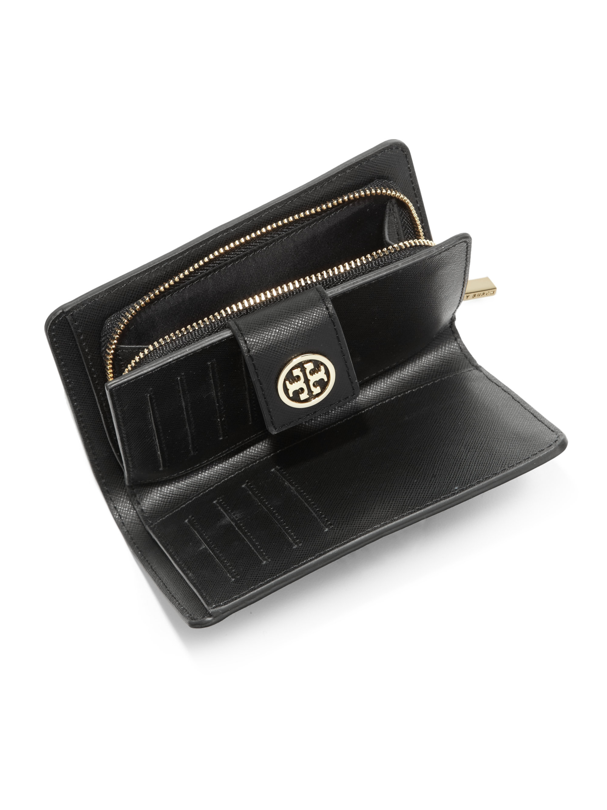 5b1be8009c5a ... canada lyst tory burch robinson french wallet in black 0ce15 902a8