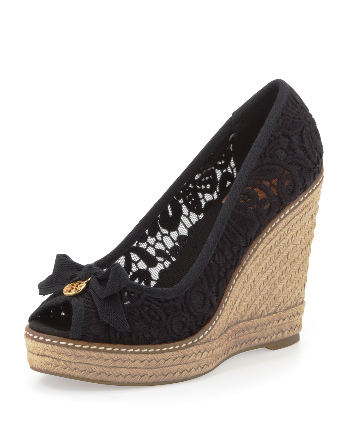 Lyst Tory Burch Jackie Lace Espadrille Wedge In Black